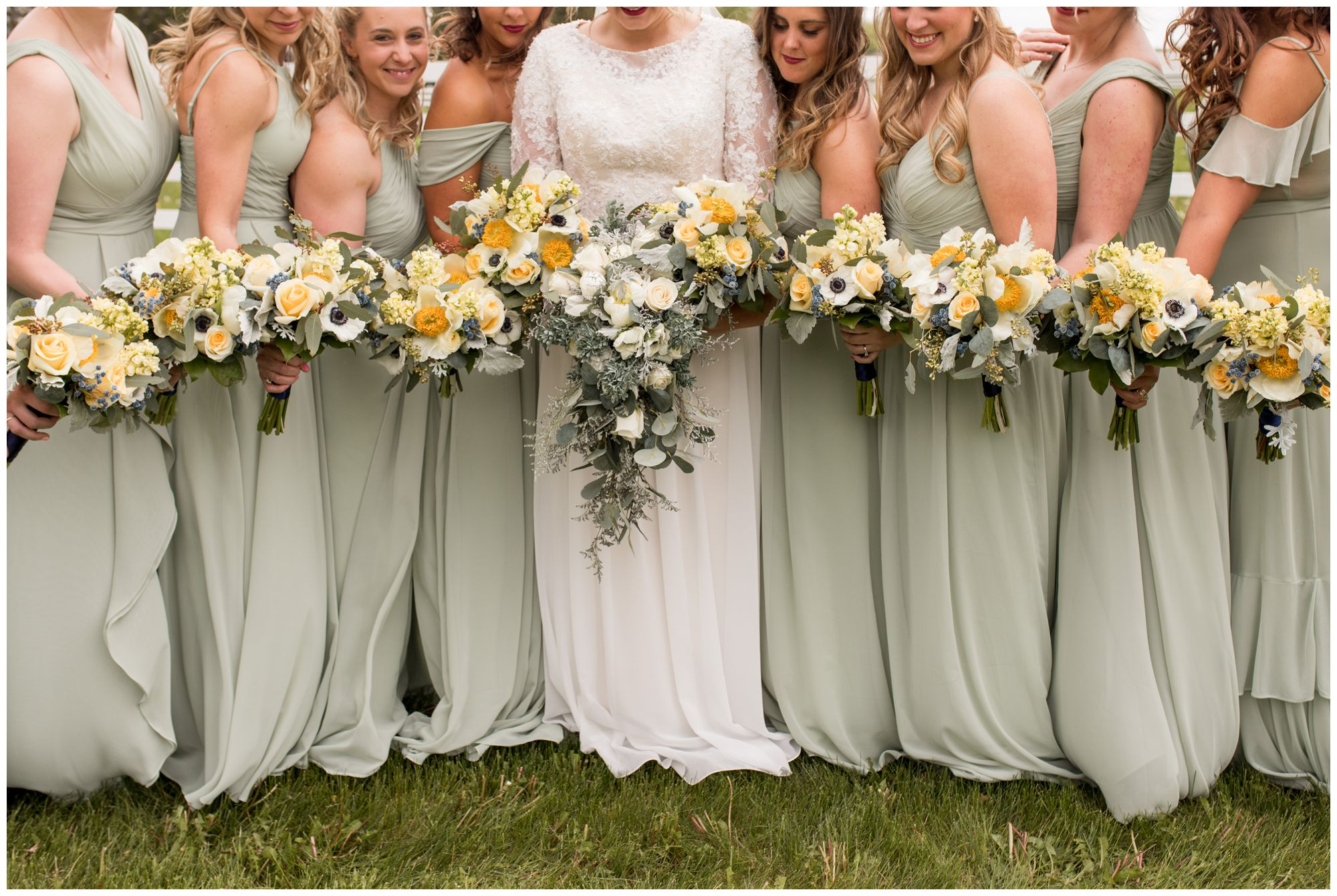bride and bridesmaids bouquets before Muncie Indiana wedding