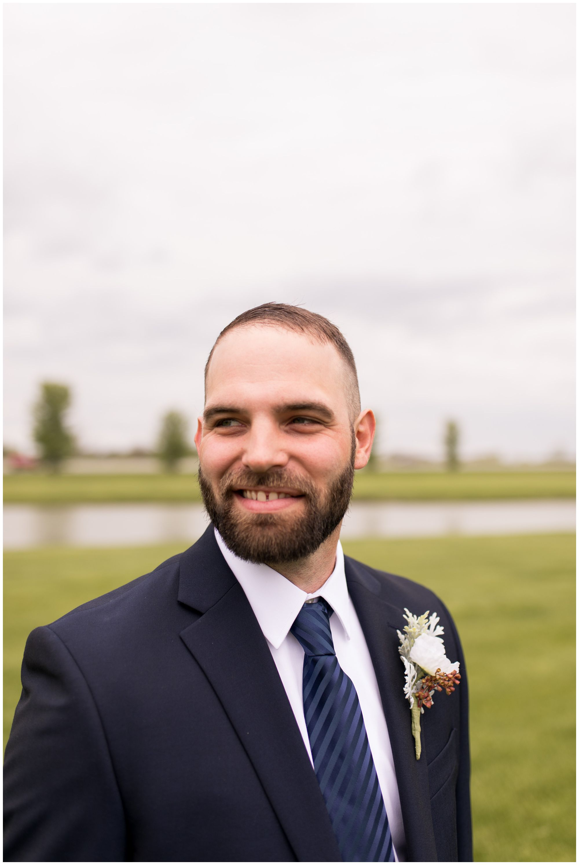 groom portraits before Muncie Indiana wedding ceremony