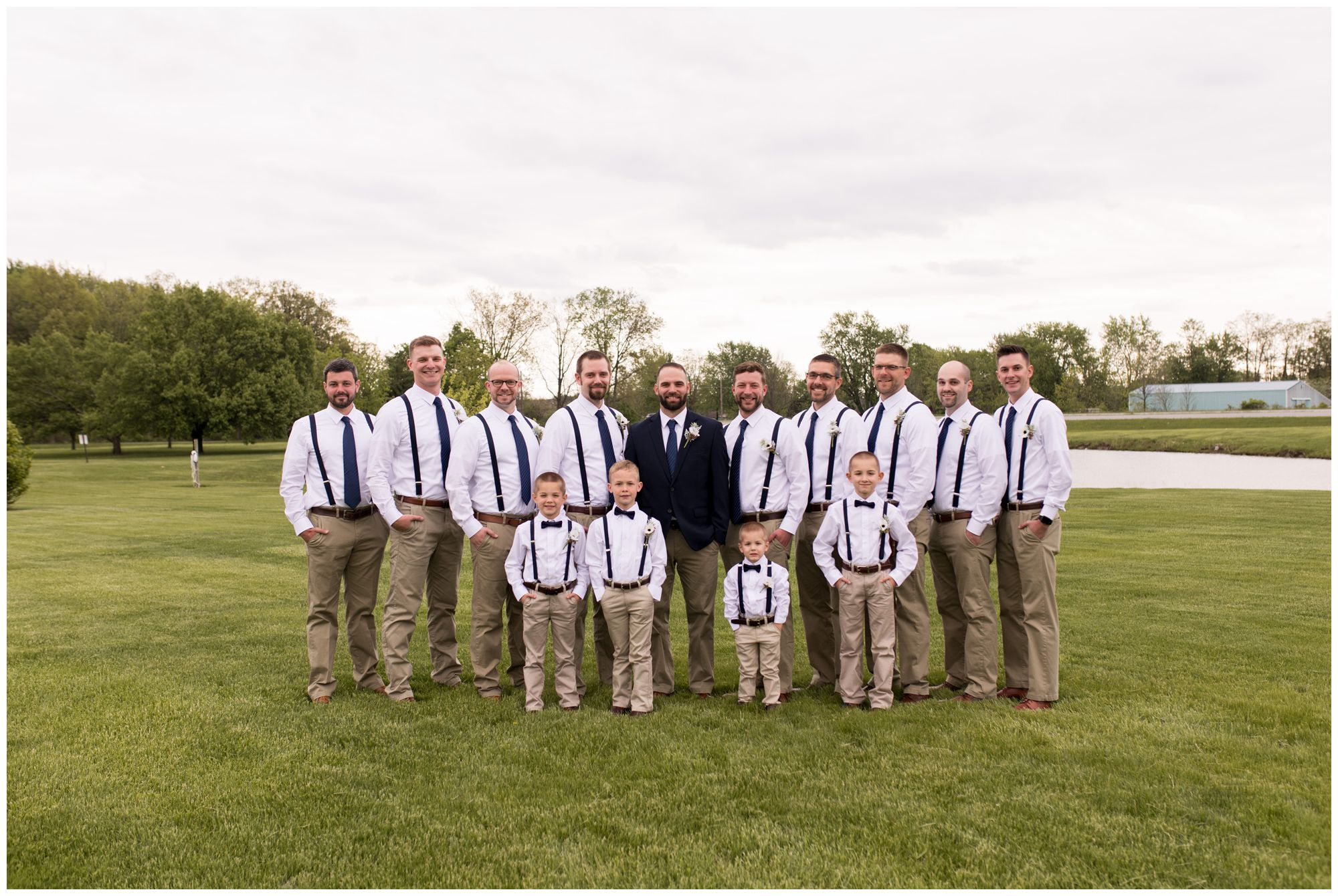groom with groomsmen and ring bearers at Muncie First Church of the Nazarene