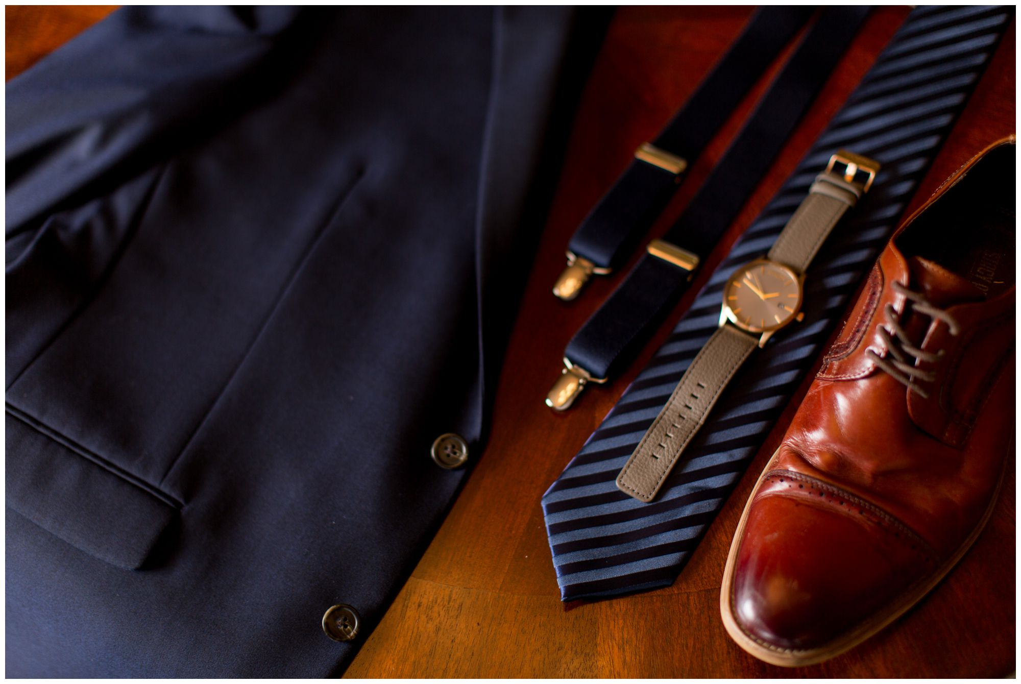 groom's suit jacket, suspenders, tie, watch and shoes at Muncie First Church of the Nazarene