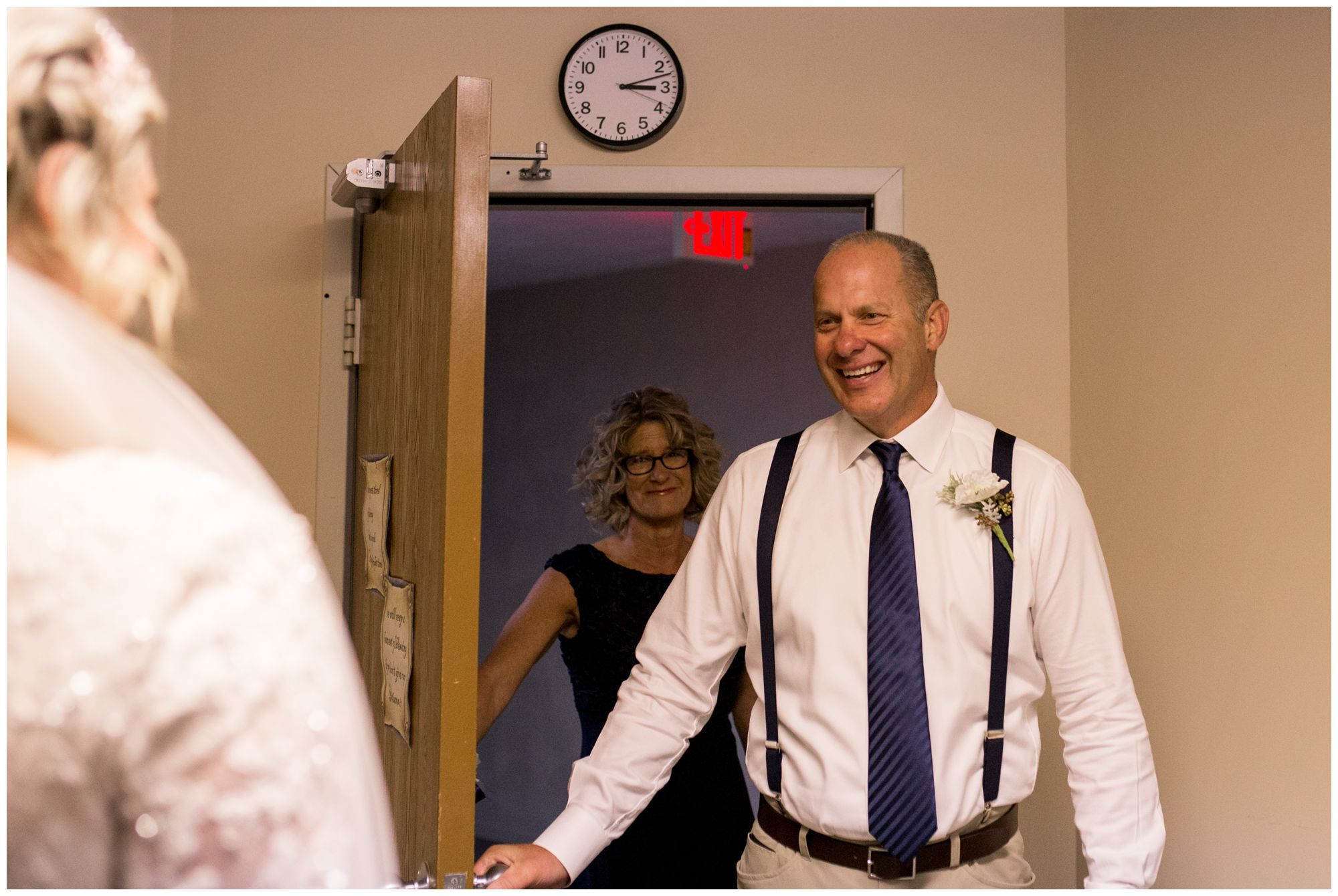 father of bride sees daughter for first time before Muncie Indiana wedding ceremony