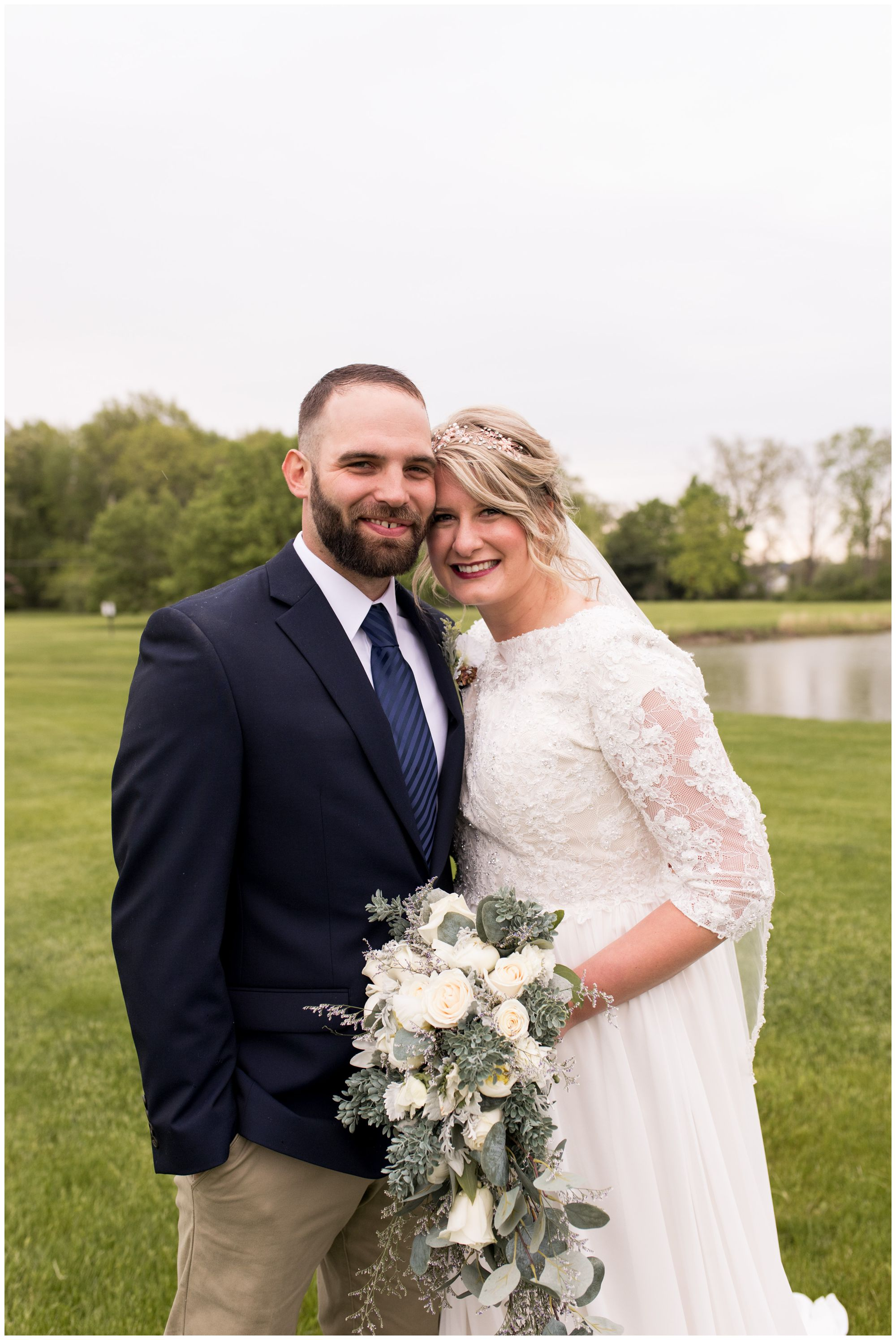 bride and groom portraits after Muncie Indiana wedding ceremony
