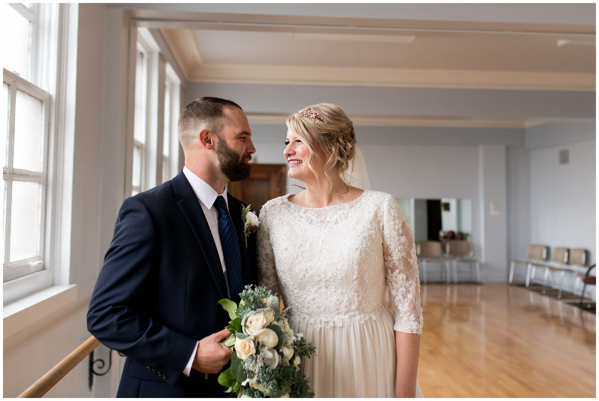 bride and groom portraits at Cornerstone Center for the Arts in Muncie Indiana