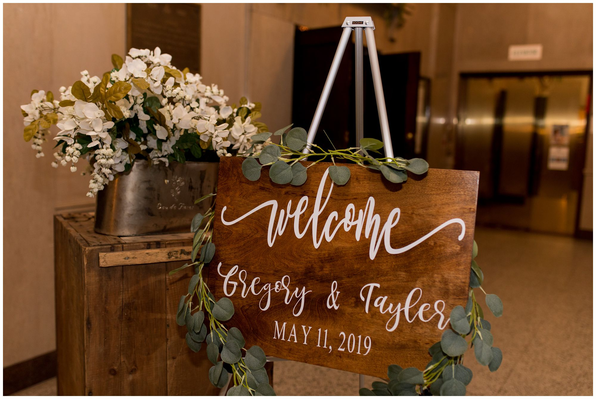 welcome sign at Cornerstone Center for the Arts wedding in Muncie Indiana