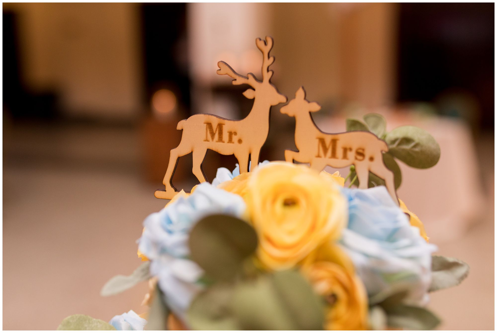 wedding cake topper at Cornerstone Center for the Arts wedding in Muncie Indiana
