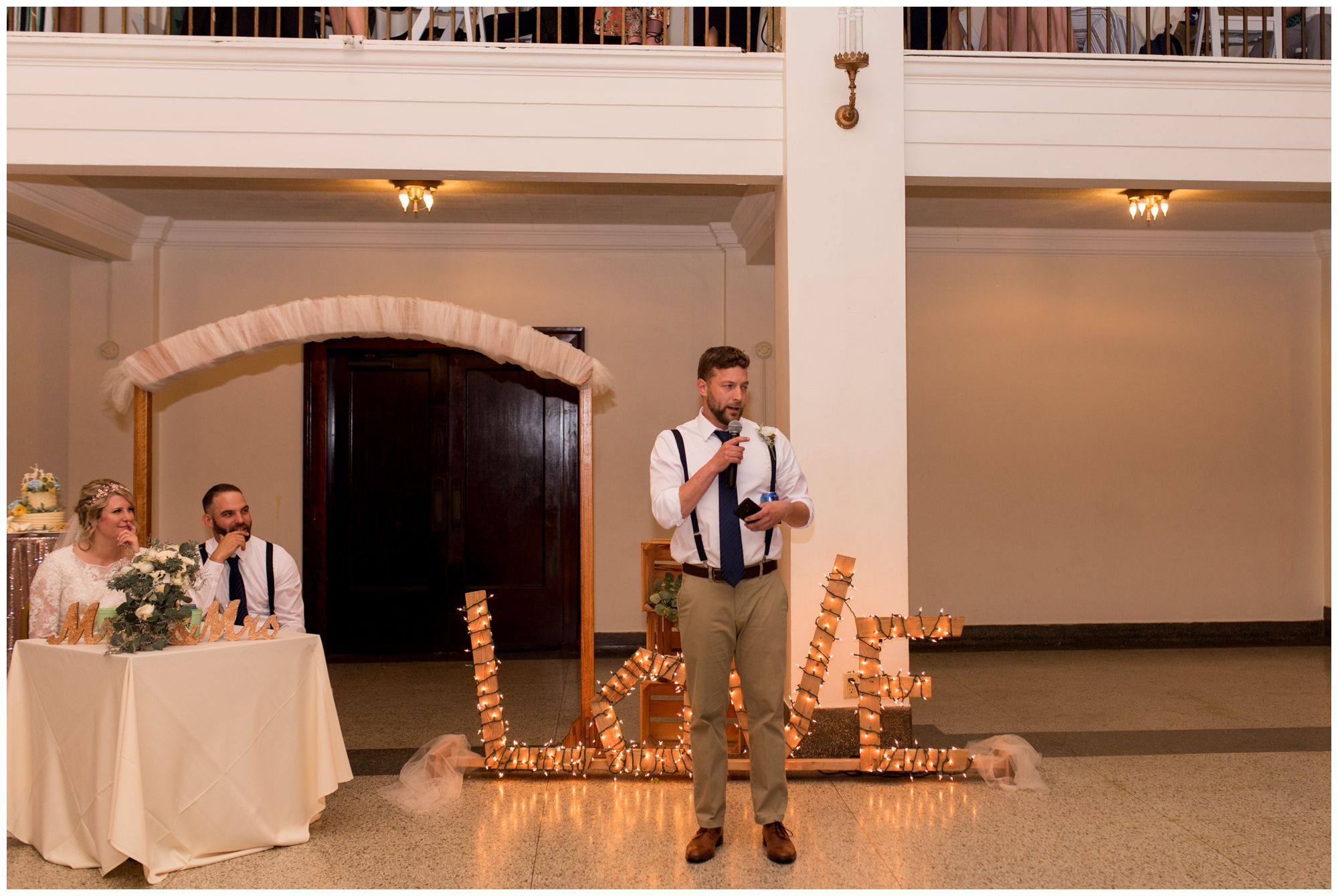 best man toasts during wedding reception at Cornerstone Center for the Arts