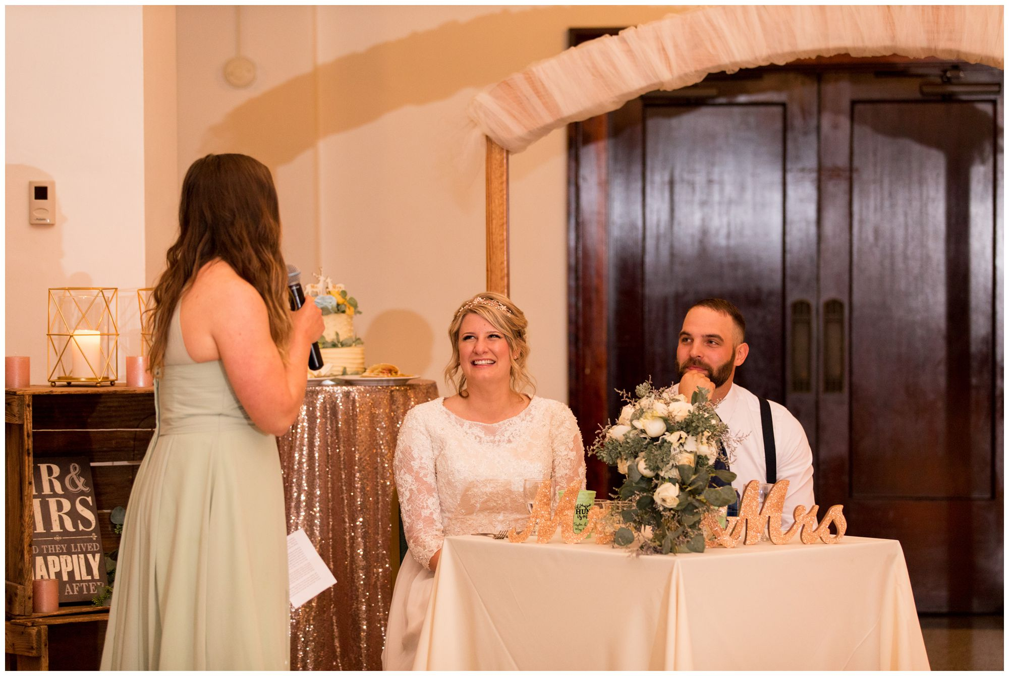 maid of honor gives speech during wedding reception at Cornerstone Center for the Arts in Muncie Indiana