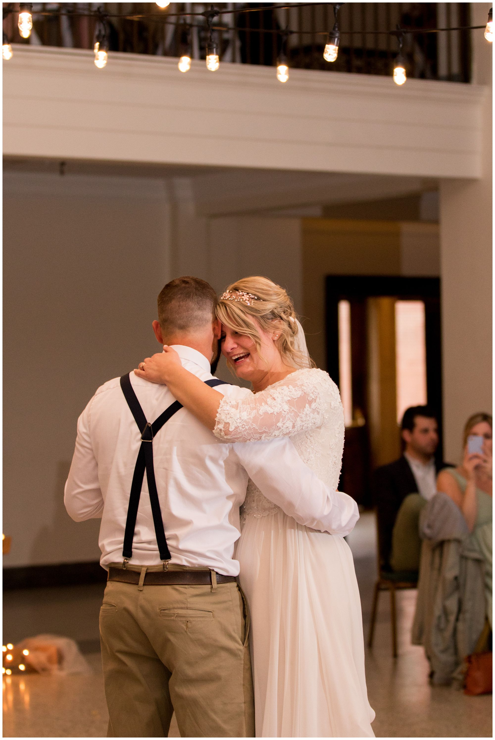 bride and groom first dance during wedding reception at Cornerstone Center for the Arts