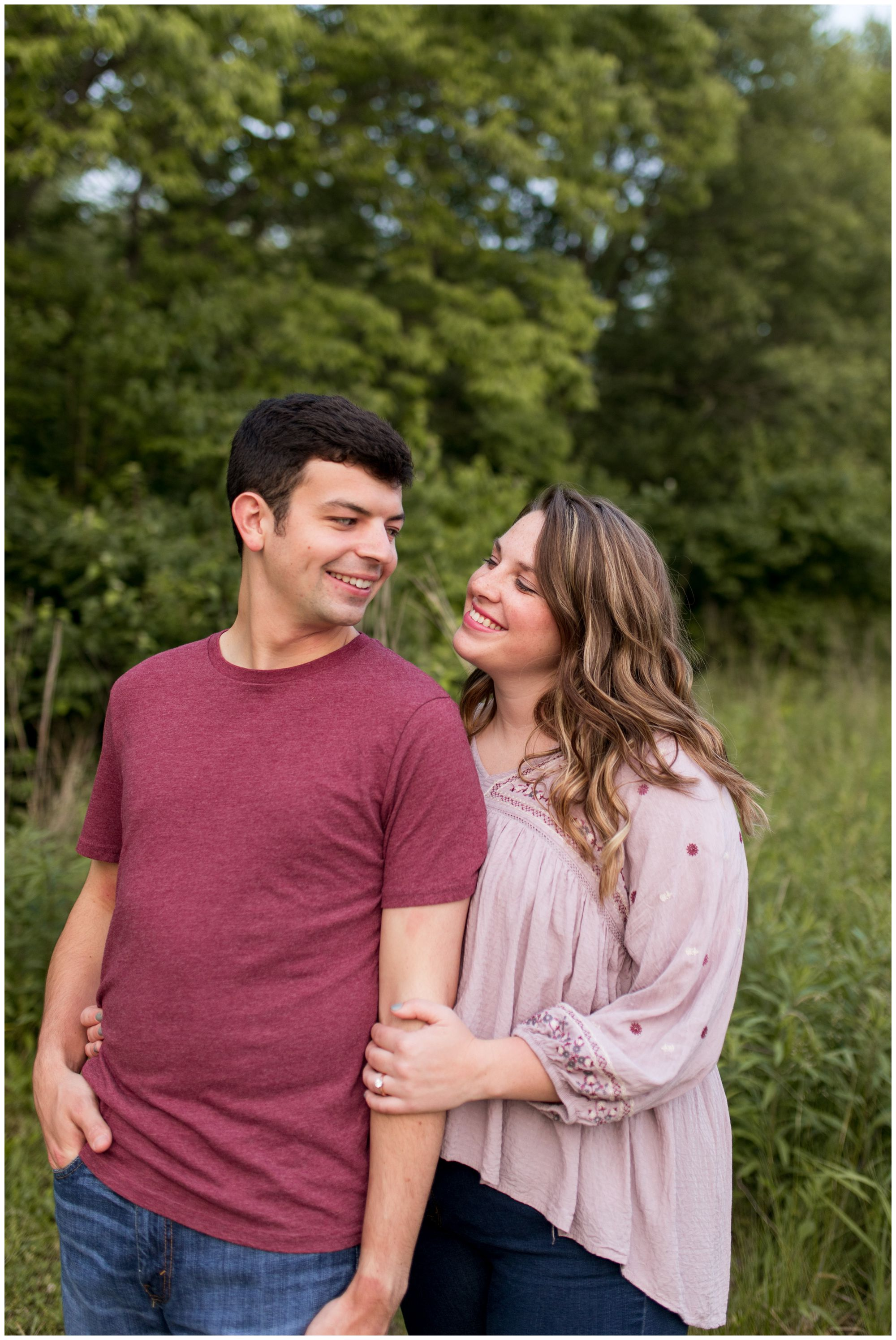 bride and groom engagement photos at Prophetstown State Park in Lafayette Indiana