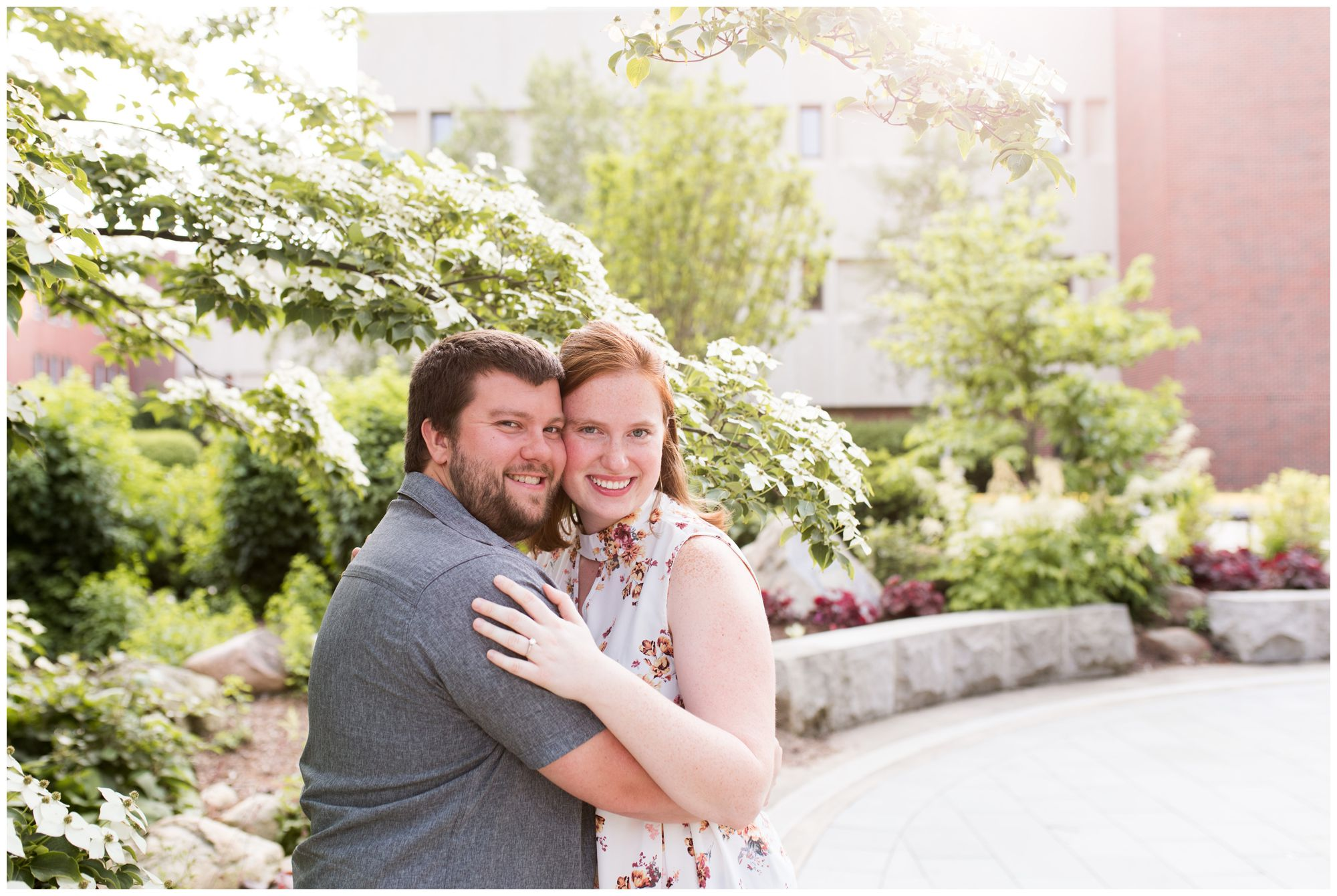 bride and groom during Purdue University engagement session