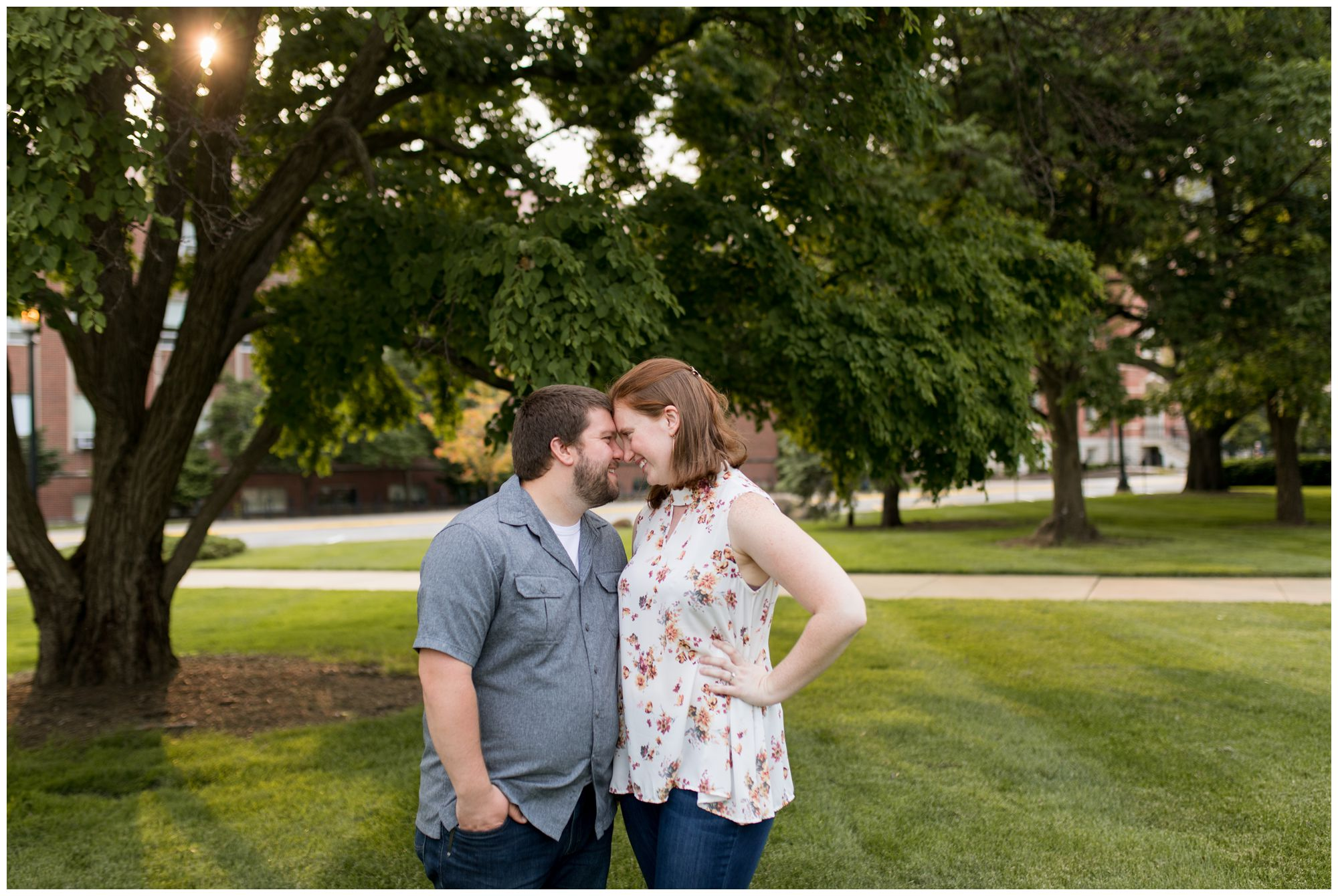 bride and groom during Purdue University engagement session in West Lafayette, Indiana