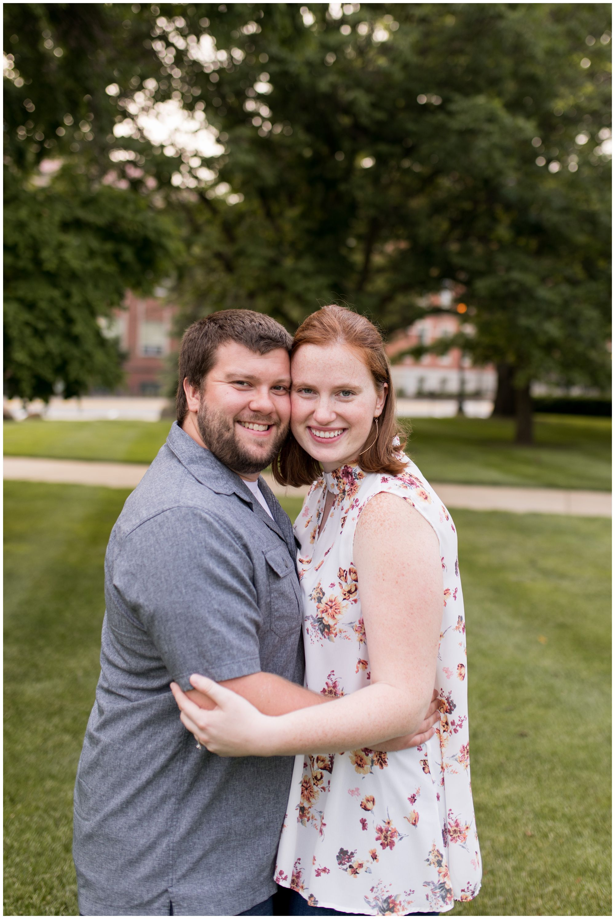 couple hugs during engagement session in Lafayette Indiana