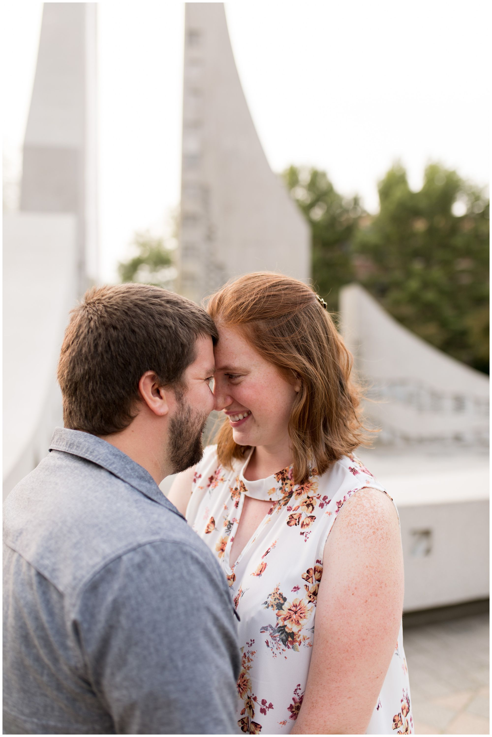 couple during Purdue University engagement session in West Lafayette, Indiana