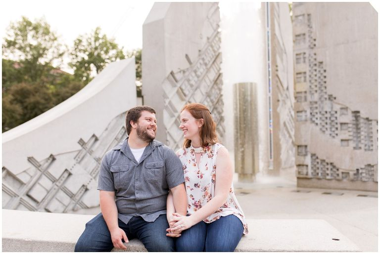 couple in front of engineering fountain at Purdue University in West Lafayette Indiana