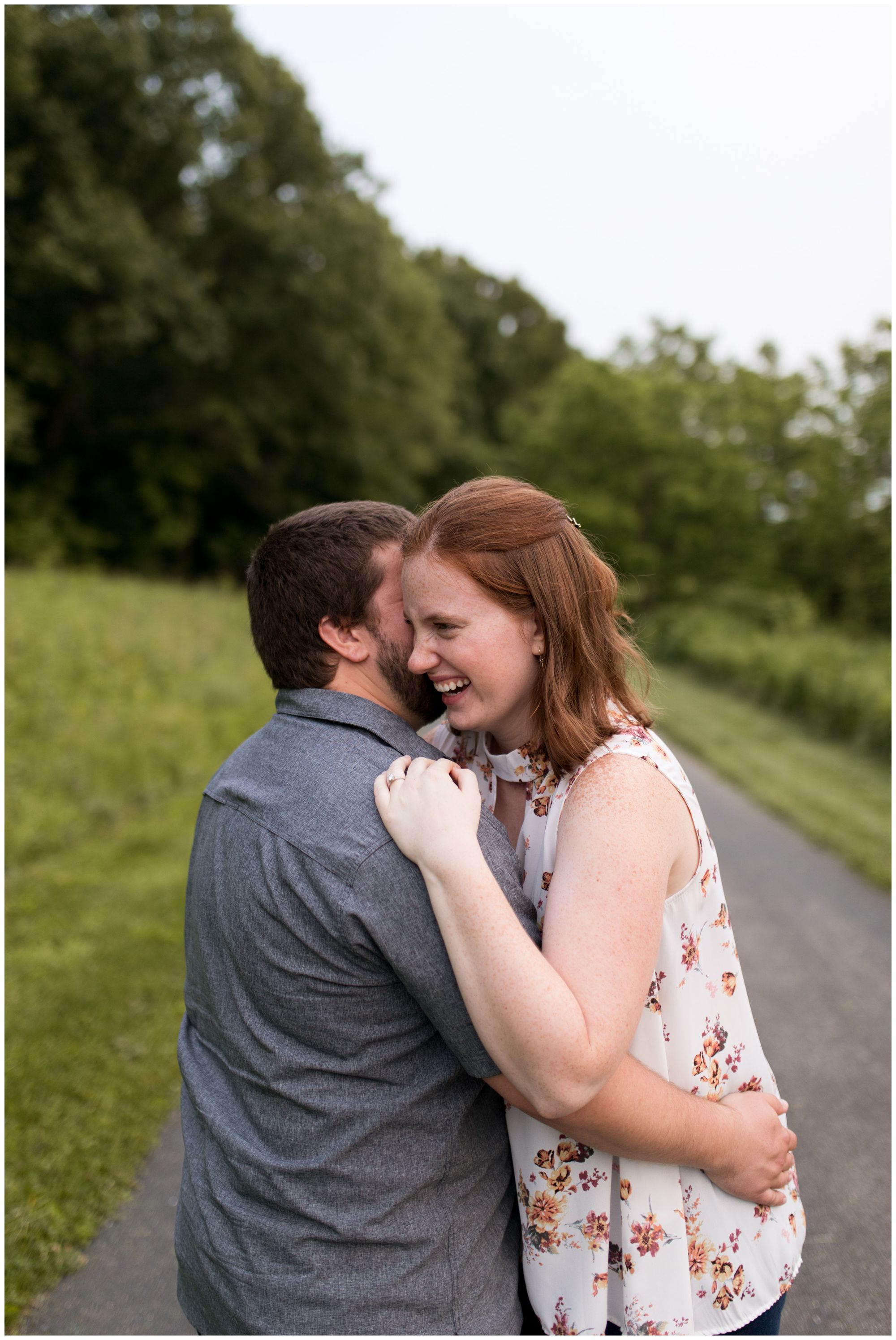 couple during Celery Bog Nature Area engagement session in Lafayette, Indiana