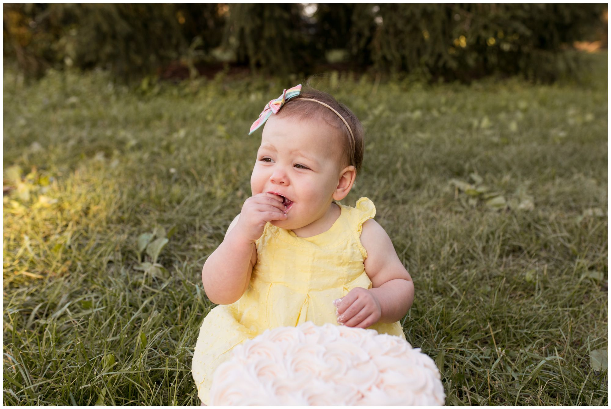 first birthday cake smash at Coxhall Gardens in Carmel, Indiana