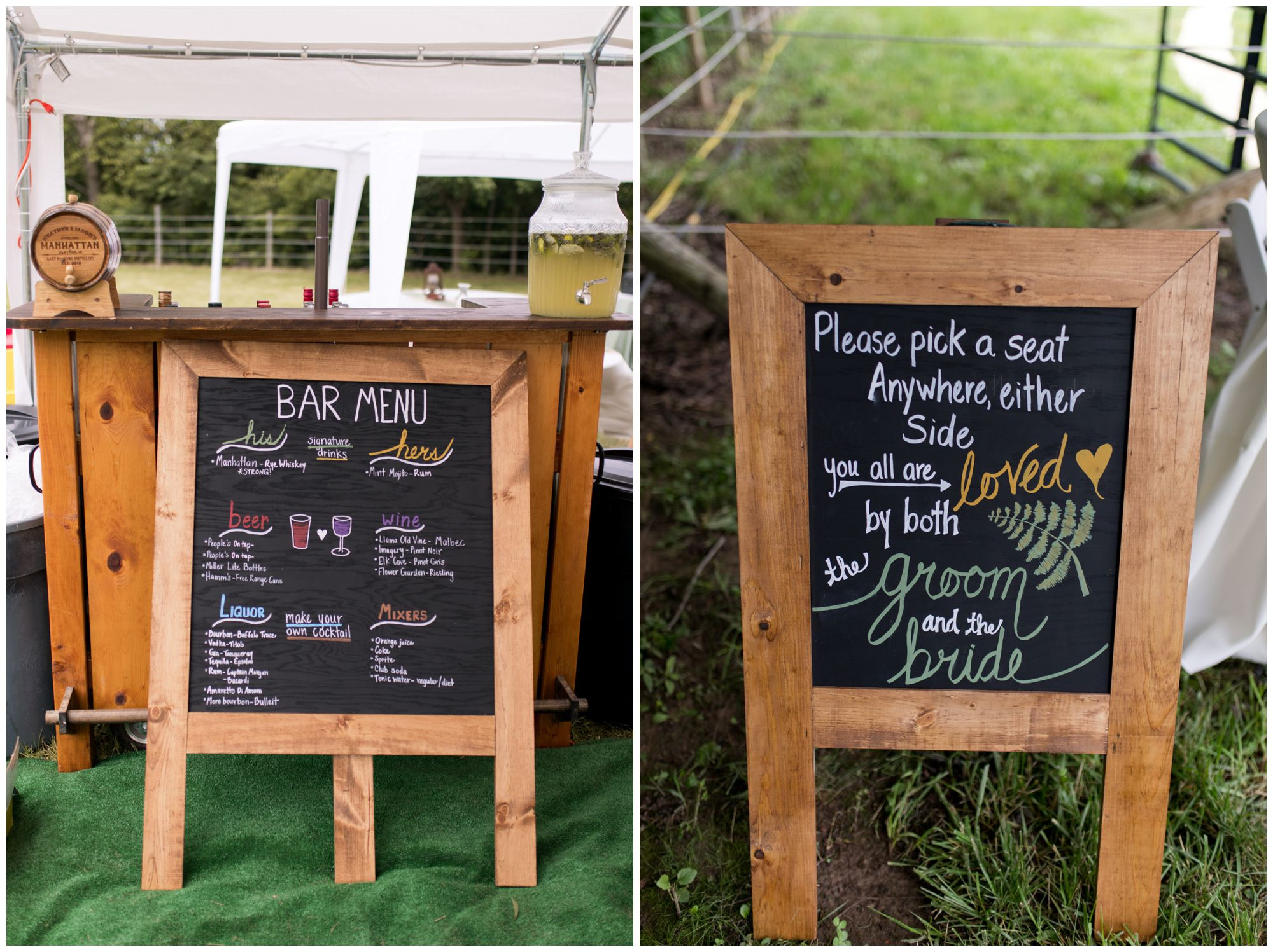 wedding bar menu and pick a seat not a side sign for wedding ceremony