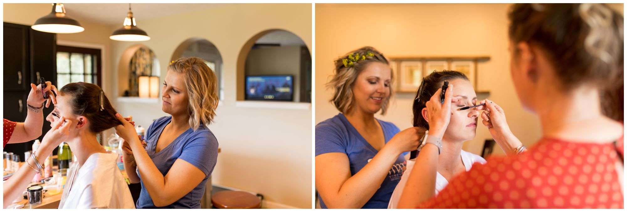 bride getting makeup done for Indianapolis wedding day