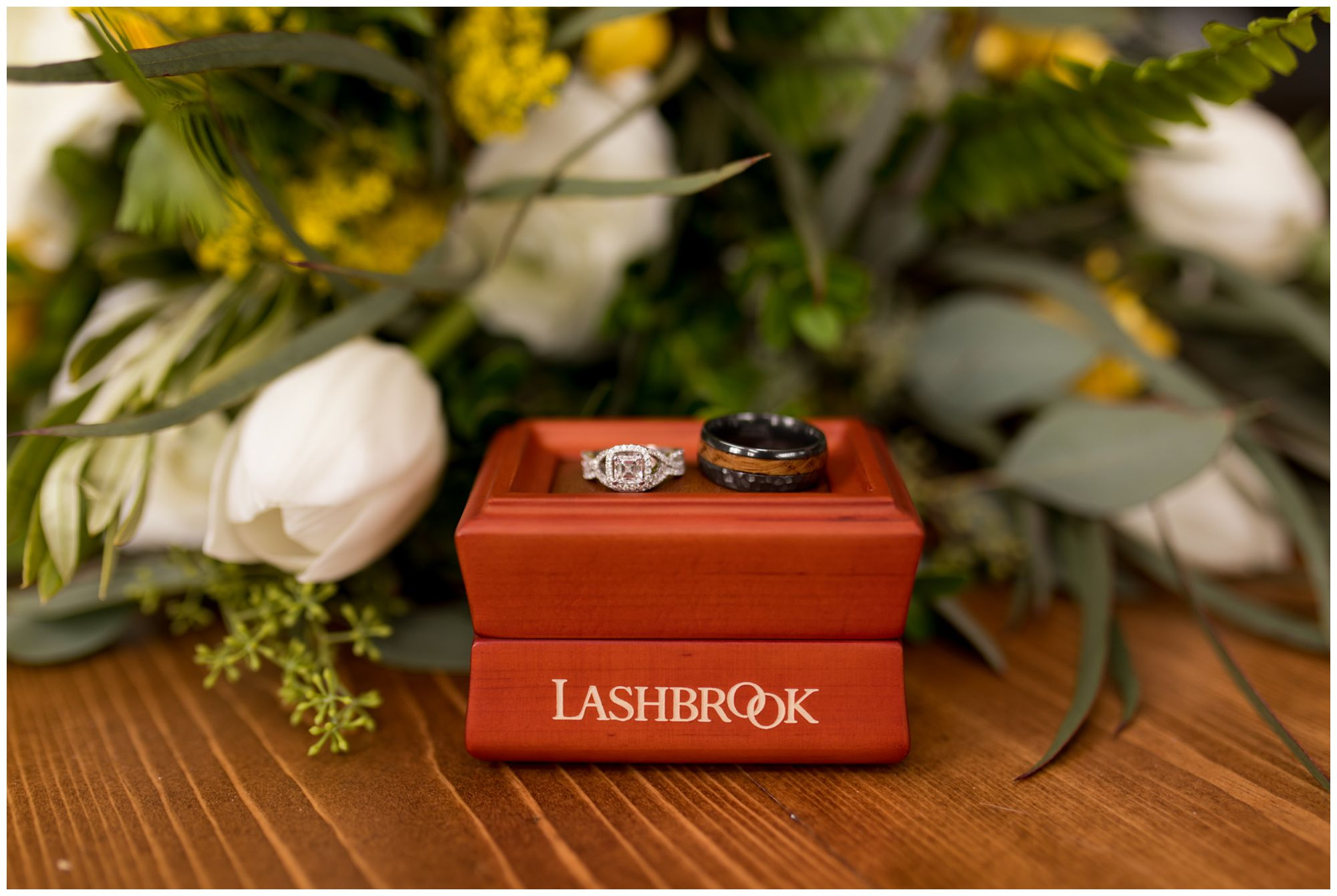 Indianapolis bride and groom rings from Lashbrook designs