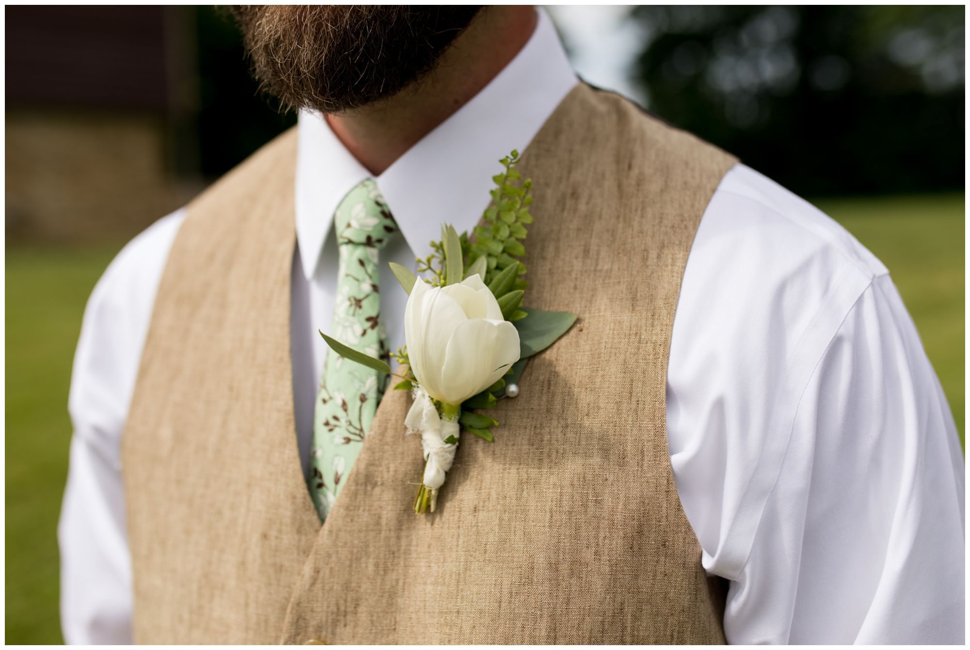 groom boutonniere for rustic Indianapolis backyard wedding