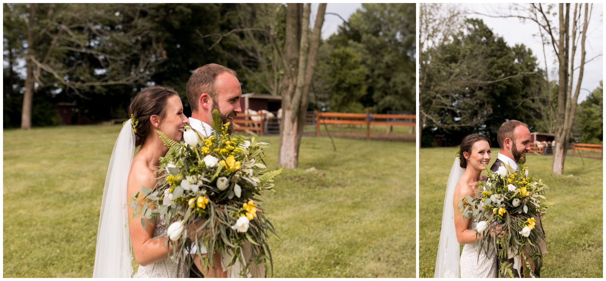 bride and groom first look before Indianapolis wedding ceremony