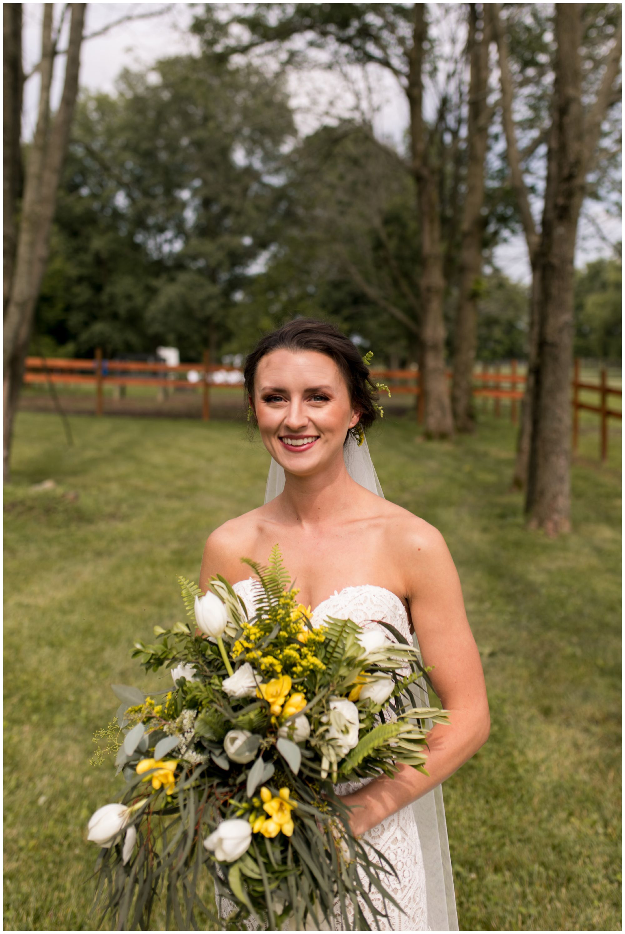 bride portraits during Indianapolis wedding day with florals from Jen's Stems