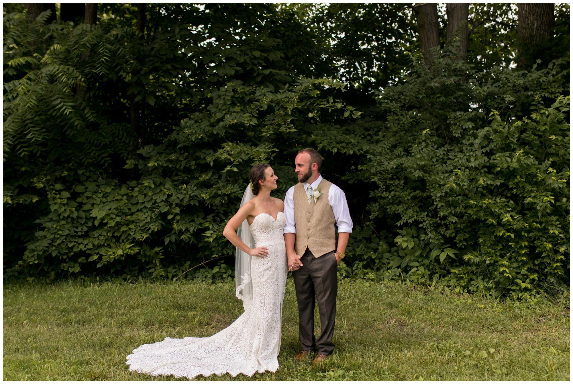 rustic Indianapolis backyard wedding bride and groom portraits