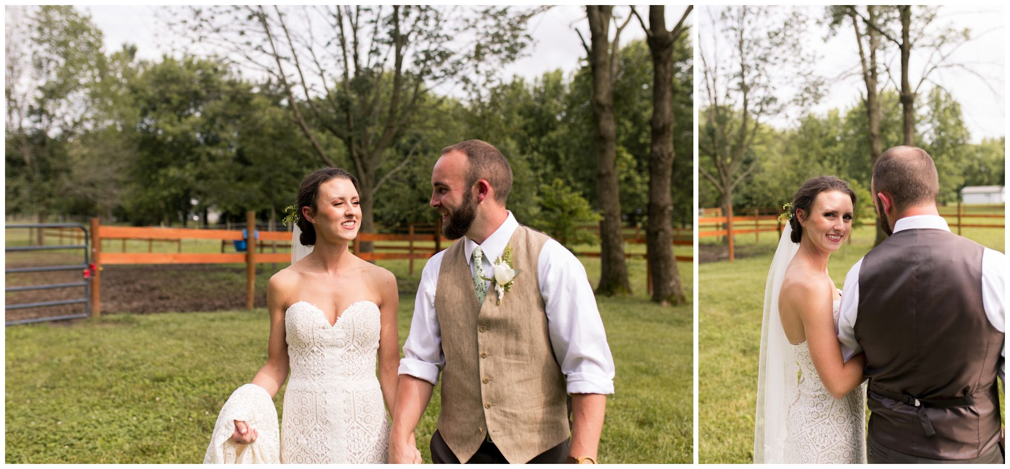 bride and groom walk through horse pasture during couples portraits at Indianapolis wedding