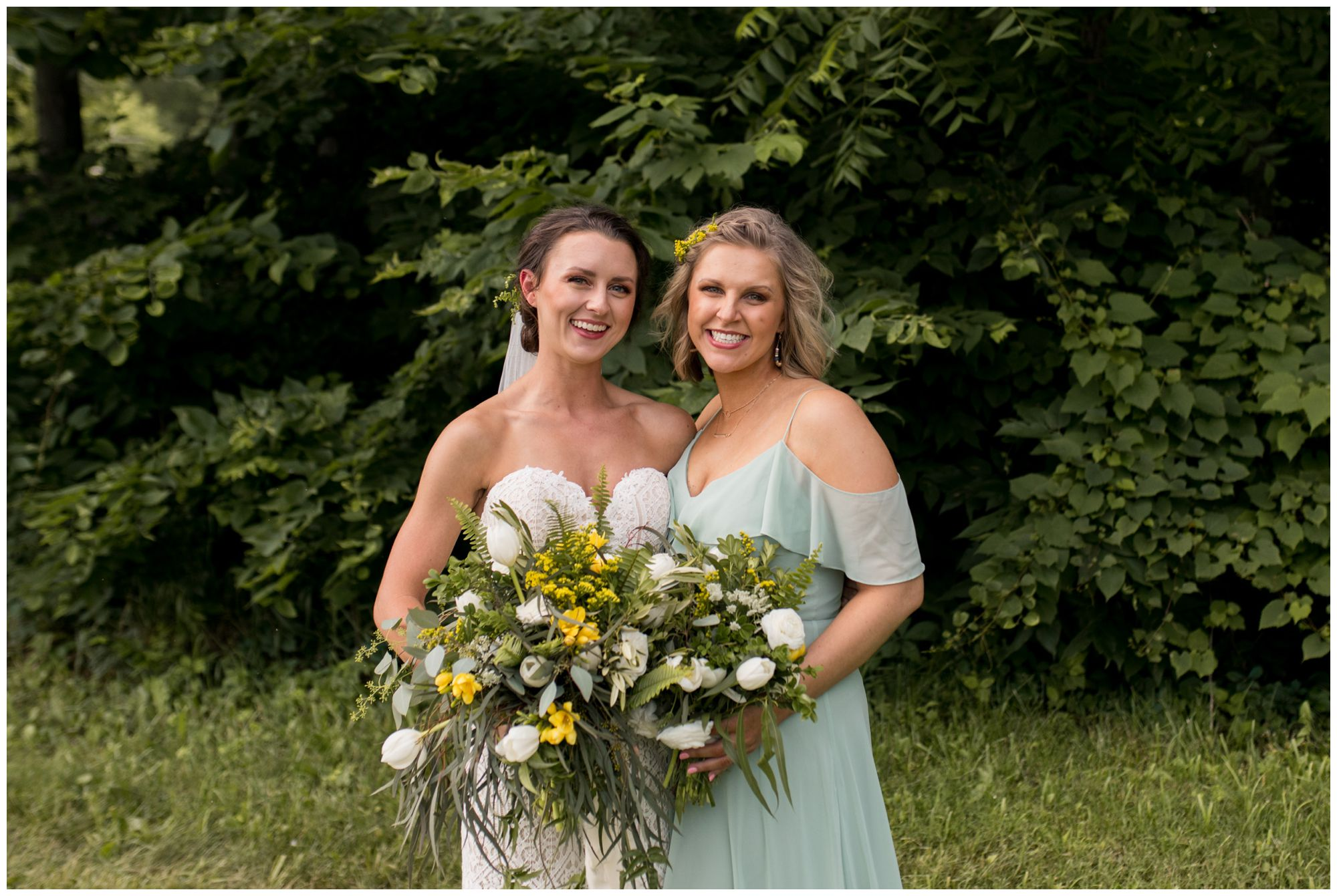 bride and matron of honor during Indianapolis wedding