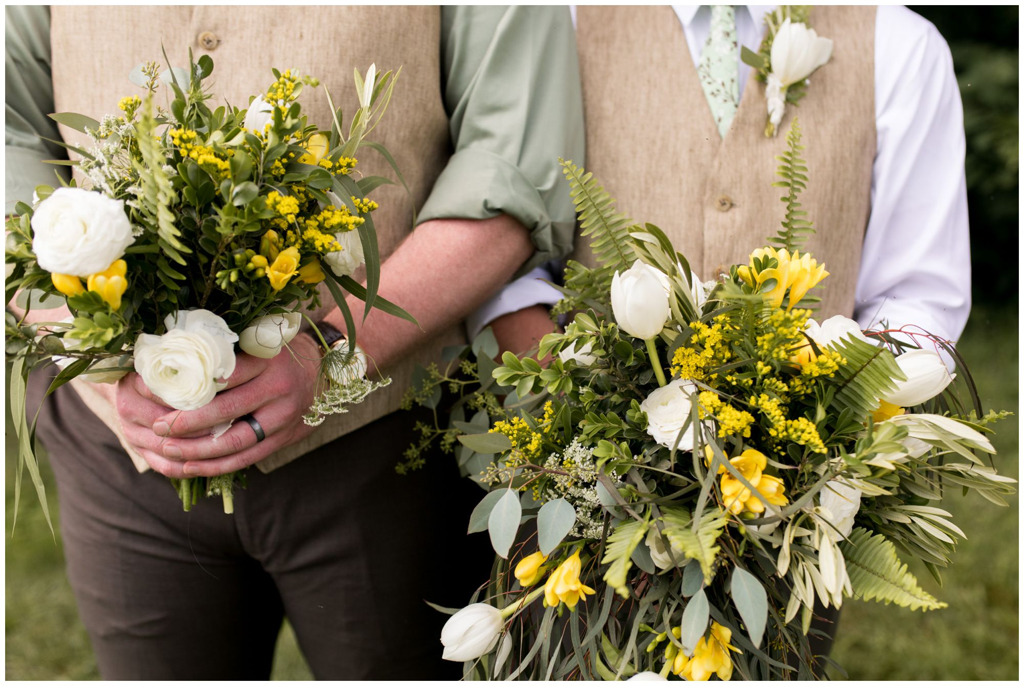best man and groom with floral bouquets
