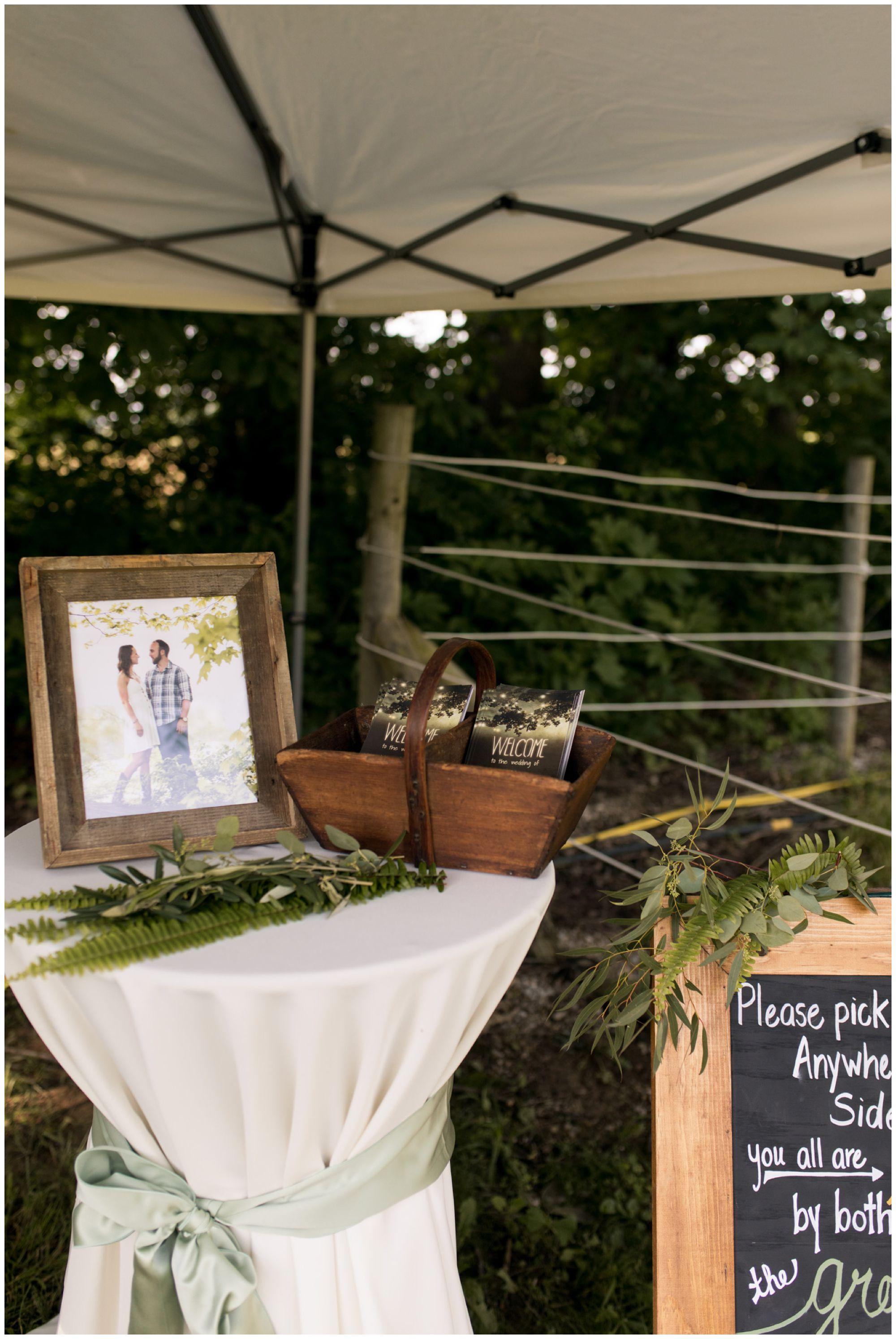 Indianapolis rustic backyard wedding ceremony decor