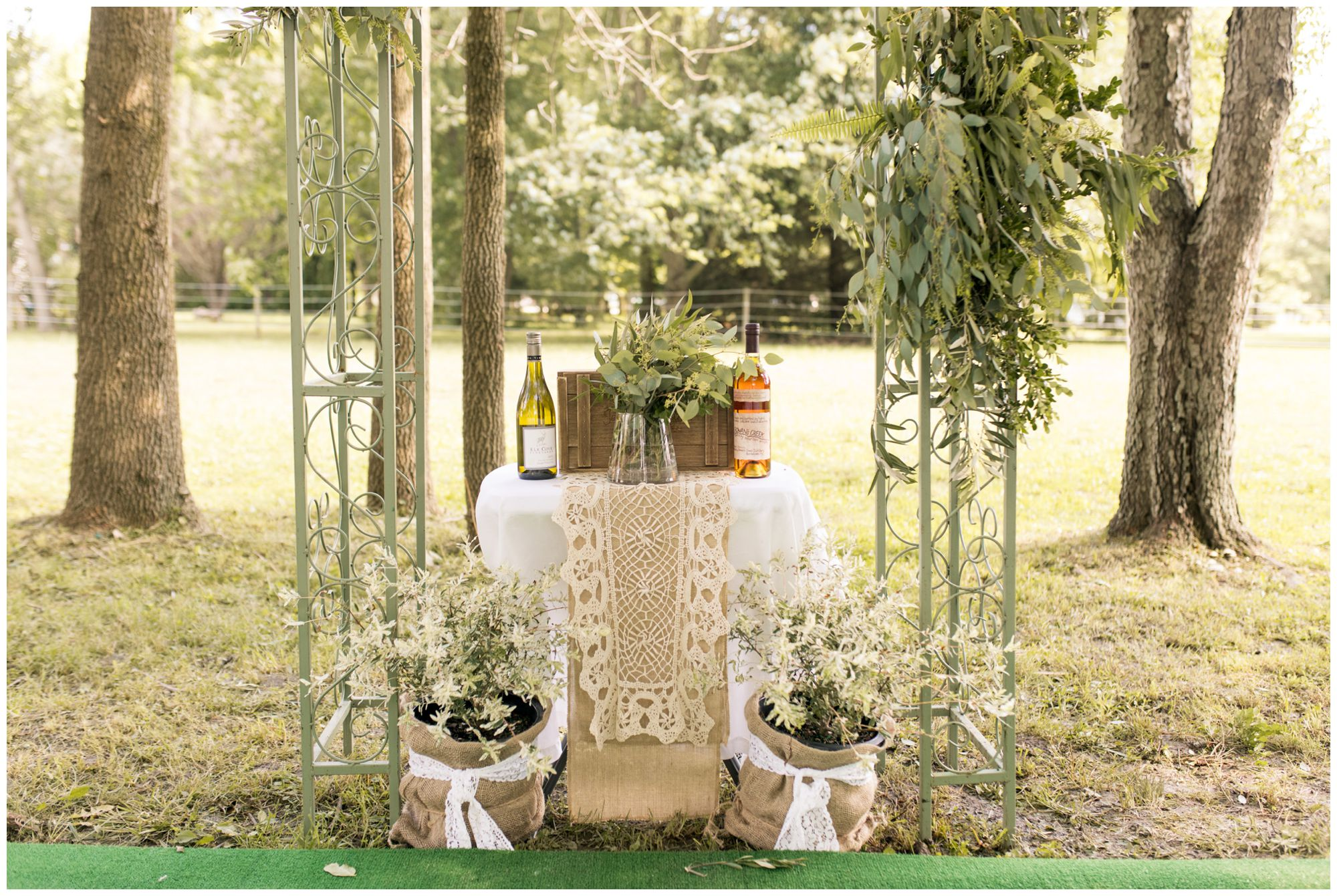 wine and whiskey box at Indianapolis wedding ceremony
