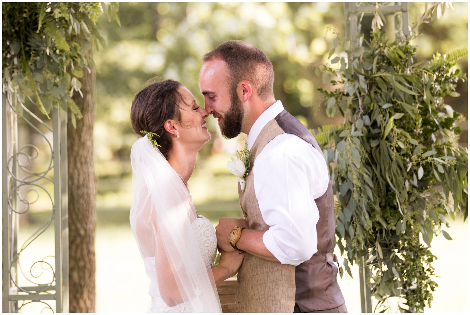 bride and groom elated at end of wedding ceremony in Indianapolis
