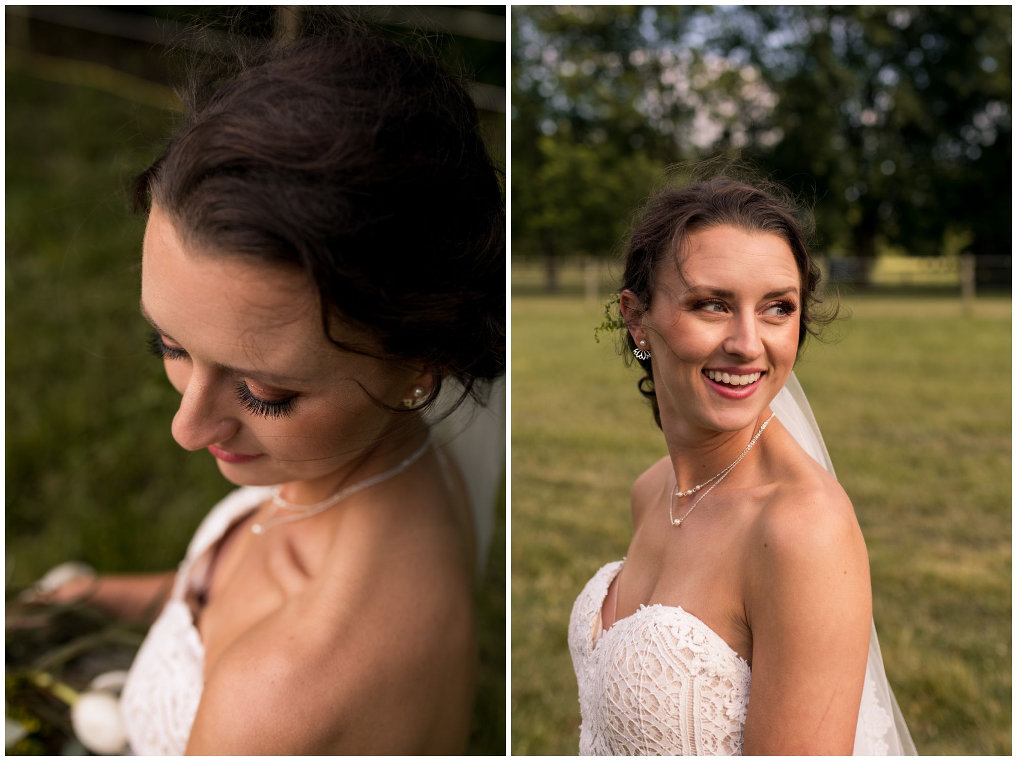 Bride portraits in white lace wedding gown after wedding ceremony in Indianapolis