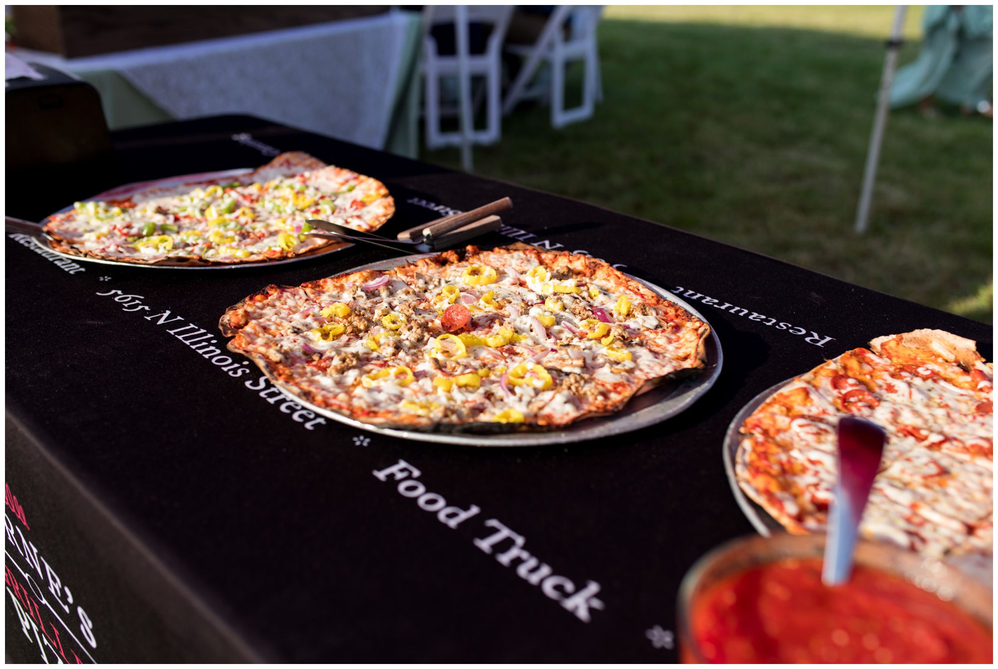 Byrne's grilled pizza in Indianapolis at wedding reception