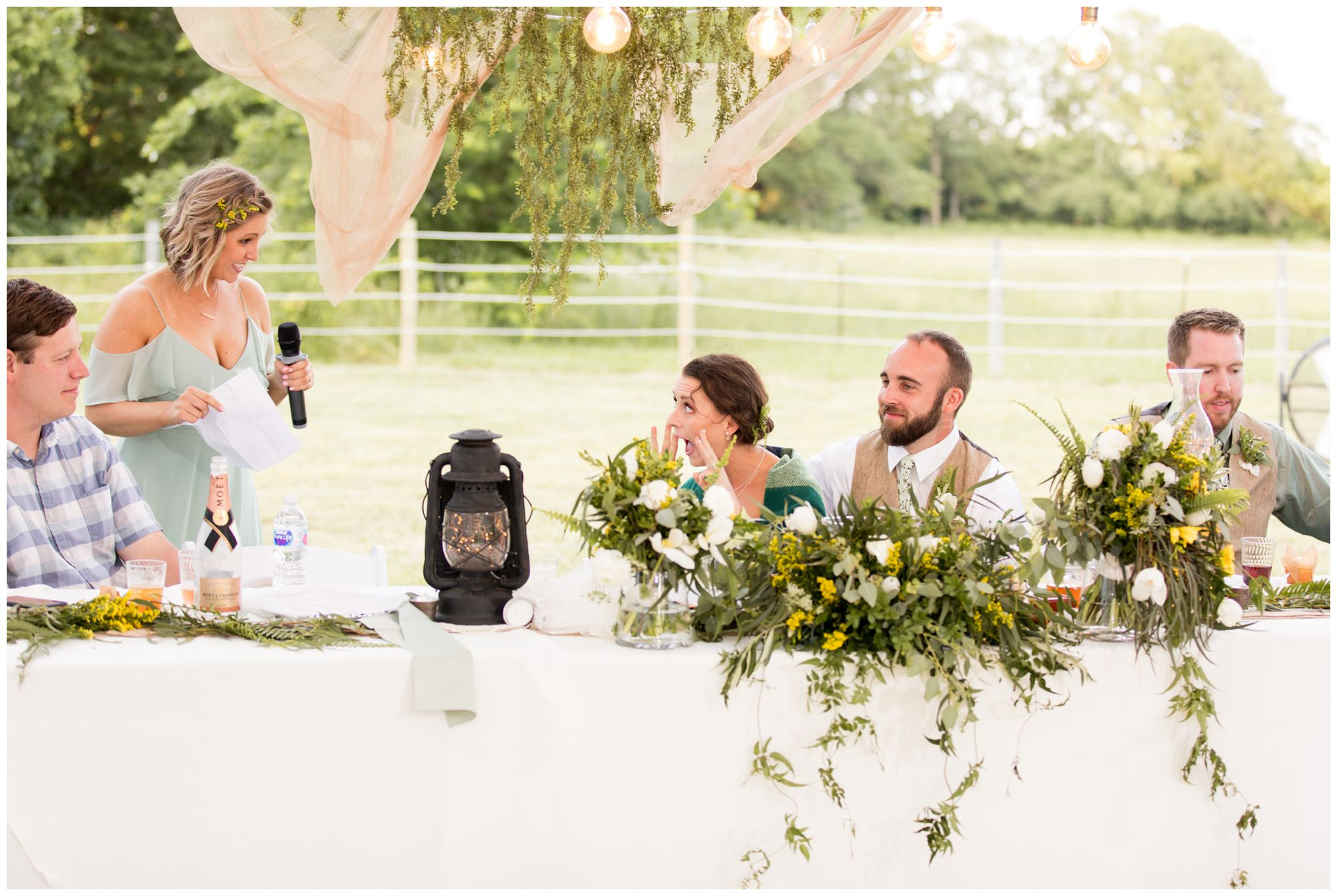 matron of honor gives toast to bride and groom at rustic Indianapolis tented wedding reception