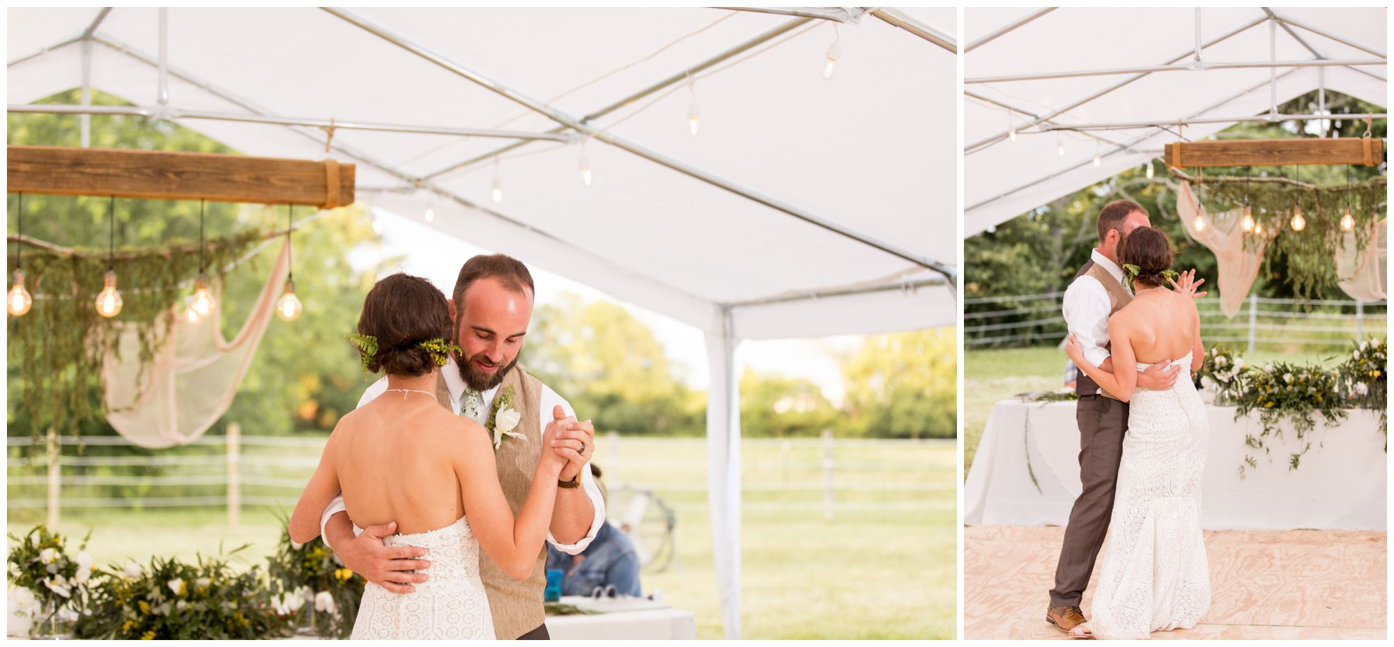 bride and groom share first dance under tent at Indianapolis backyard wedding reception