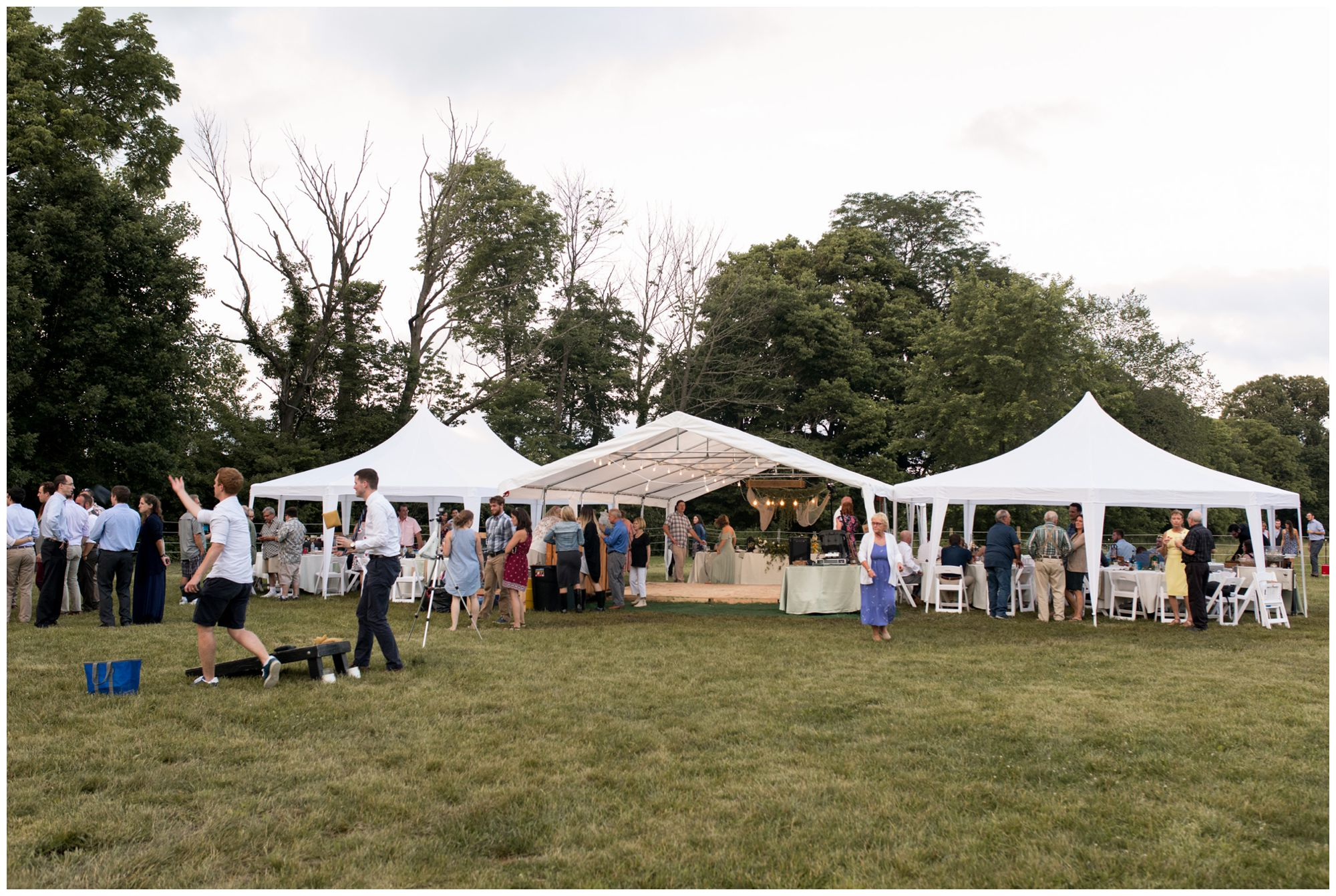 rustic Indianapolis backyard tent wedding reception