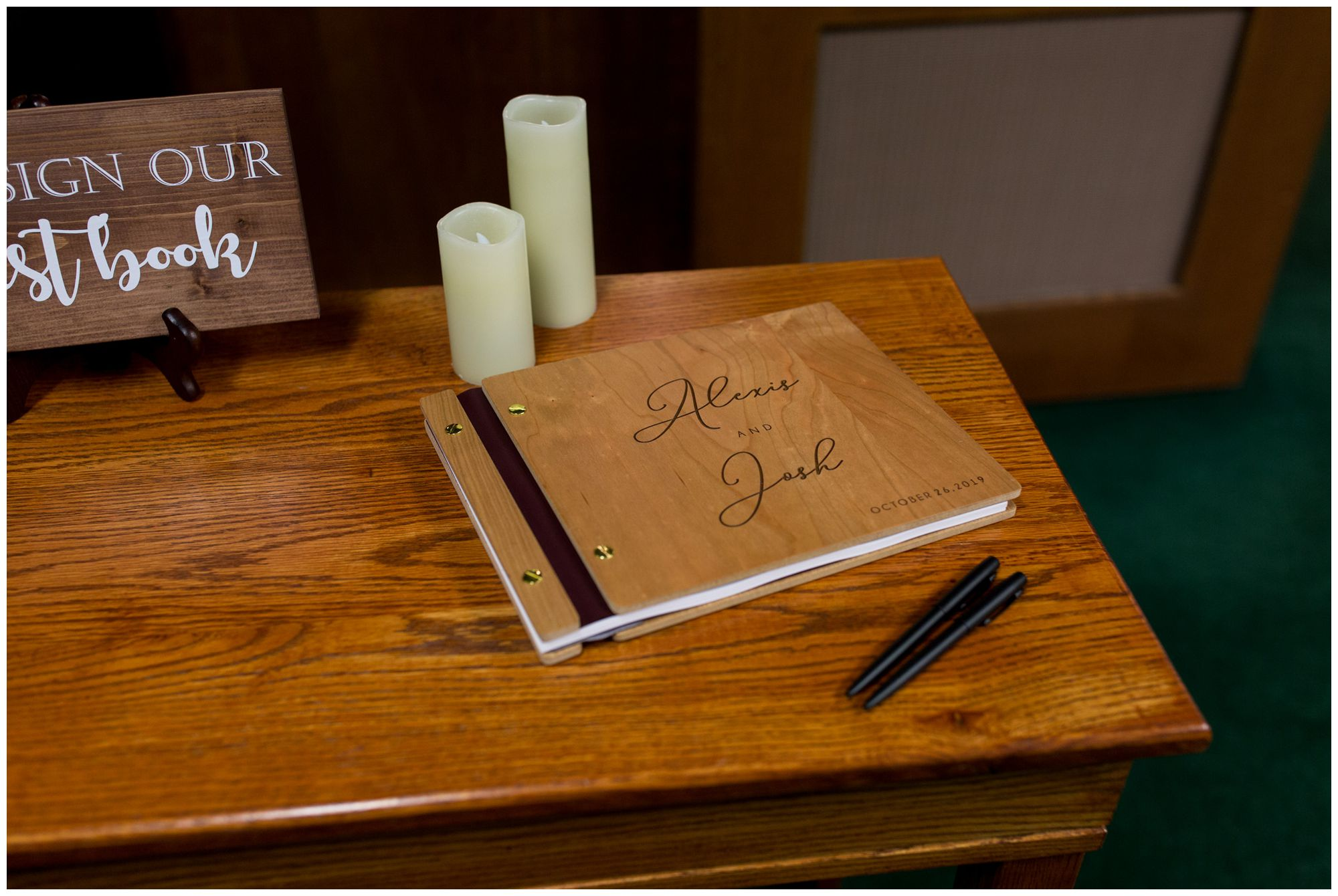 bride and groom wedding guestbook at Zion Lutheran Church in Decatur