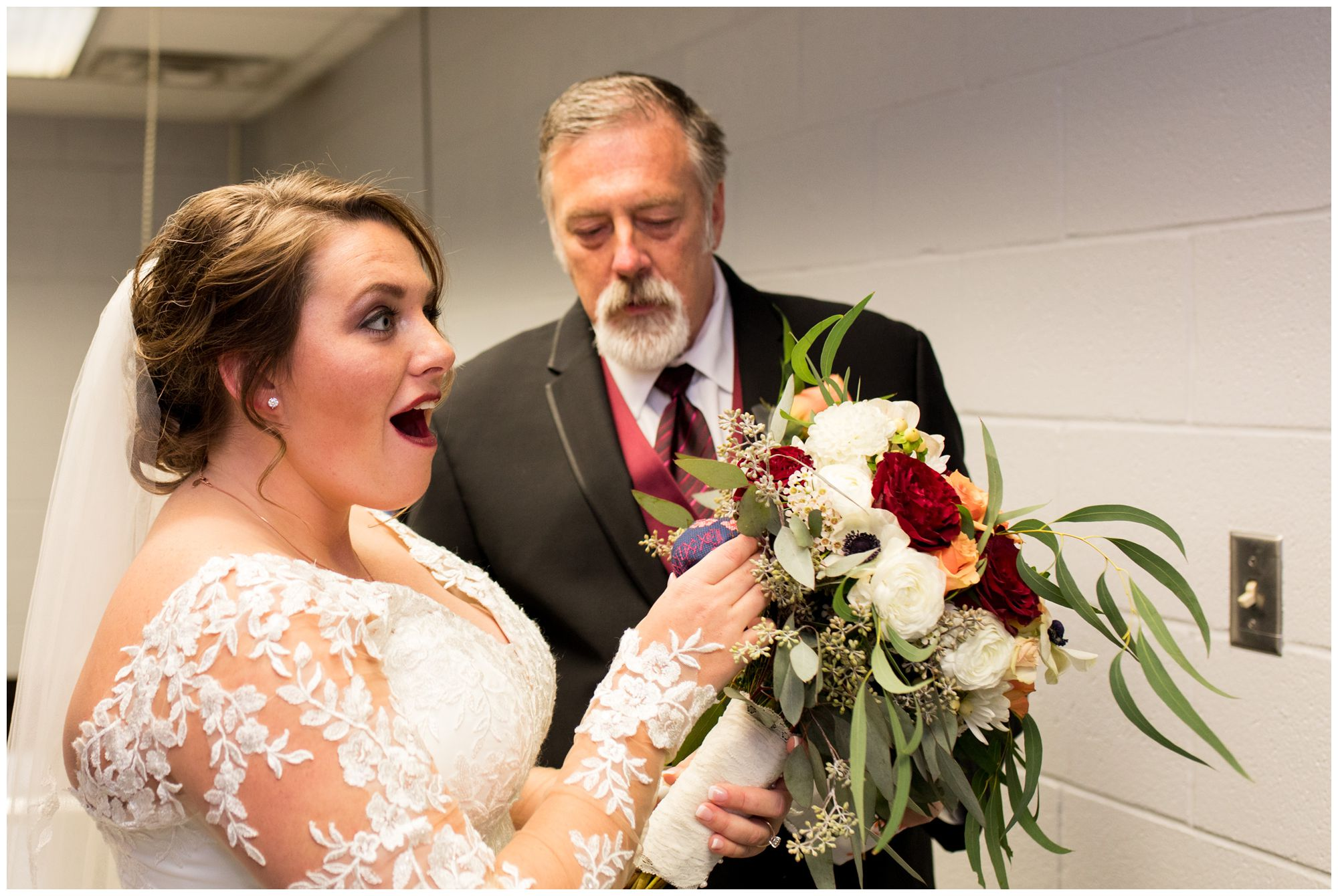 father of bride surprises bride with cross-stitched gift for wedding