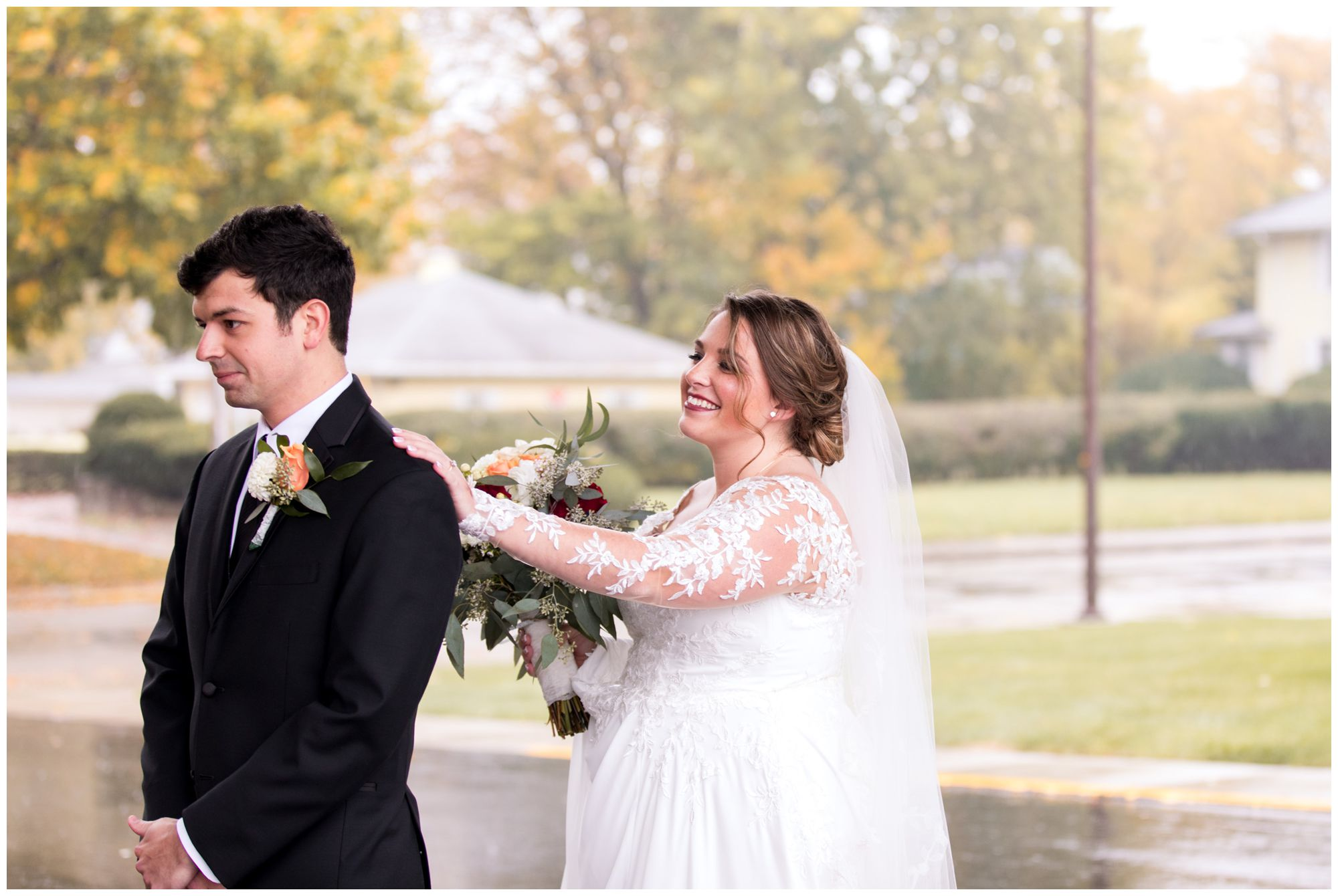 bride and groom portraits at Zion Lutheran Church in Decatur, Indiana