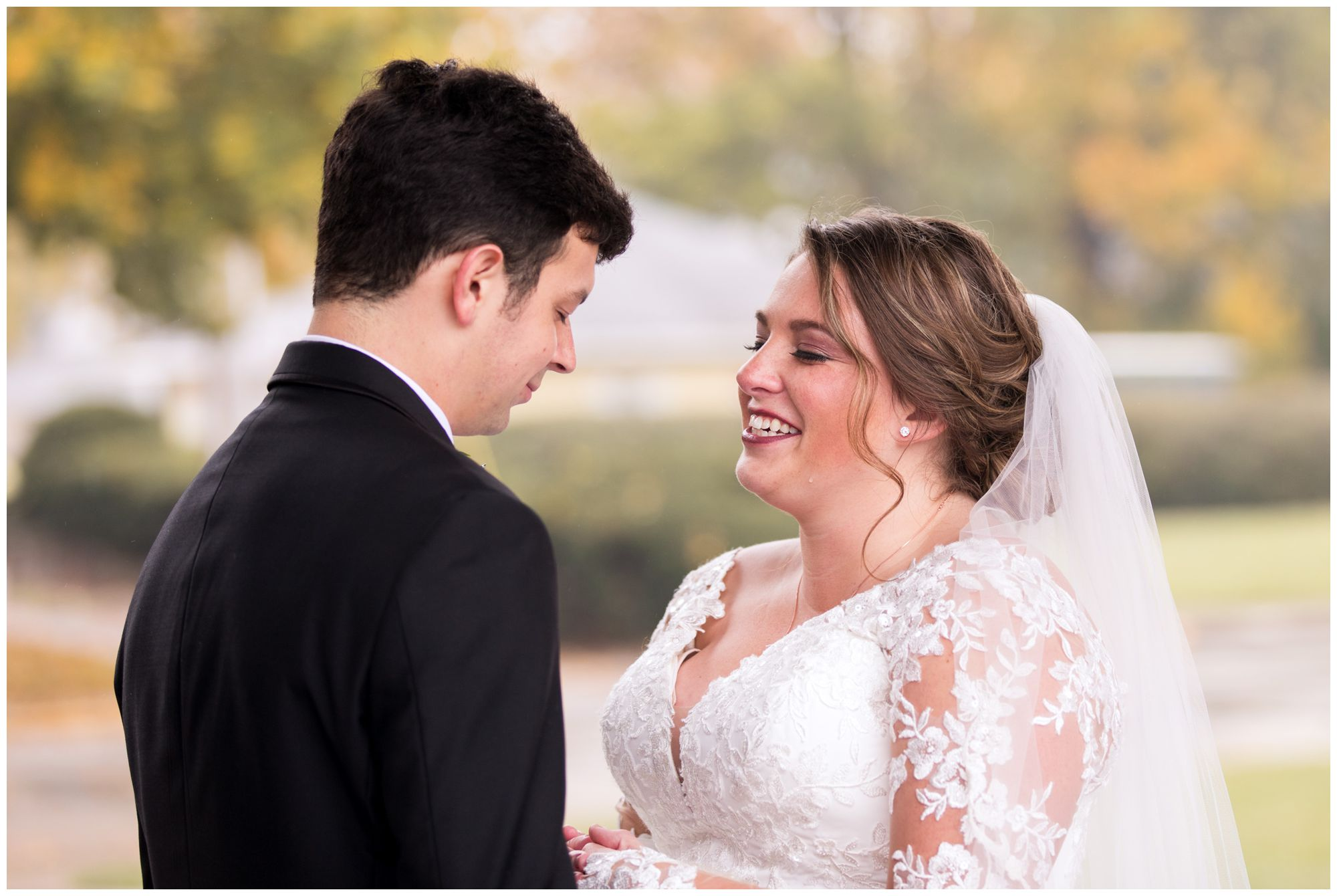 bride and groom pray together before wedding at Zion Lutheran Church in Decatur, Indiana