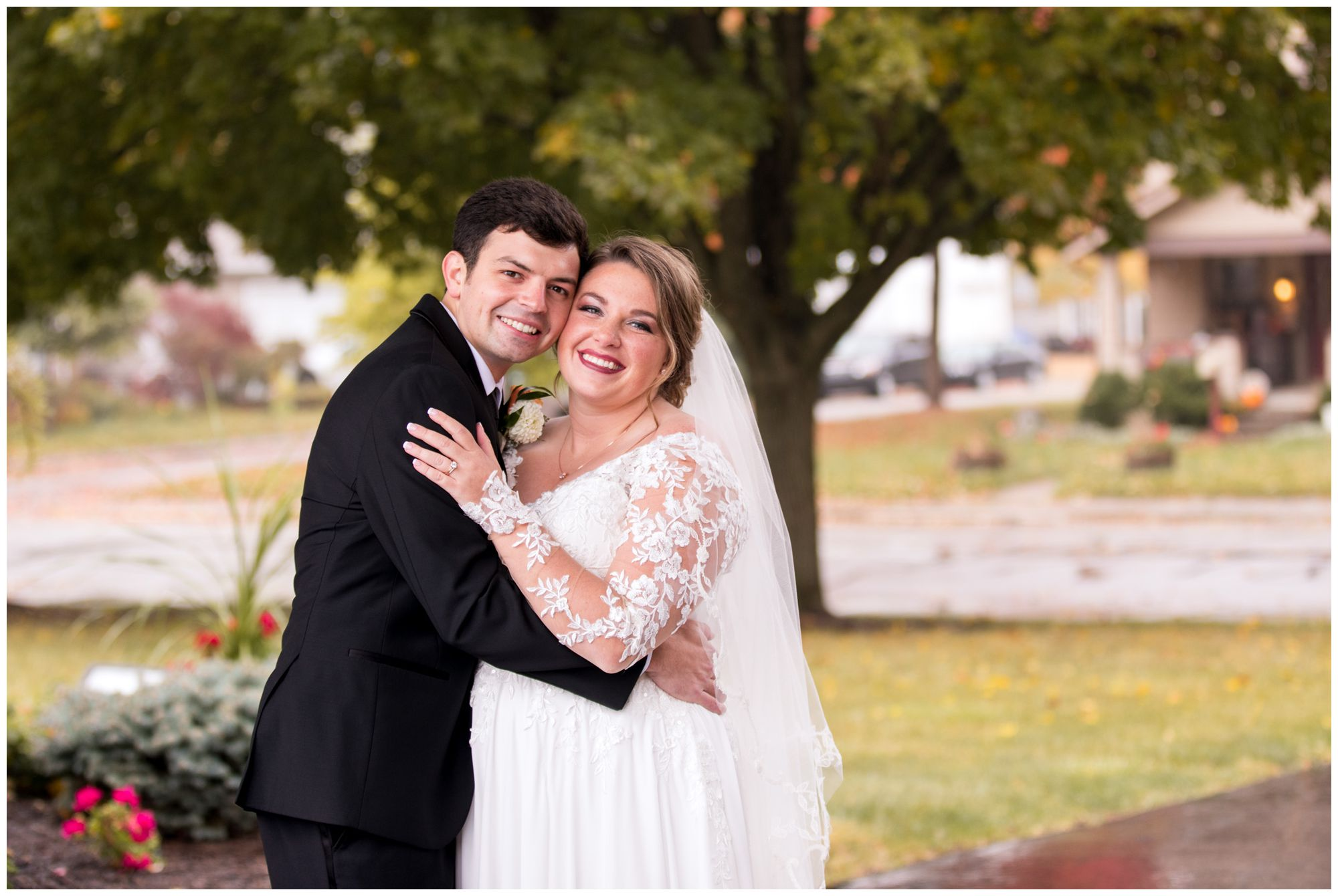 bride and groom wedding portraits at Zion Lutheran Church in Decatur, Indiana