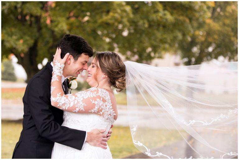 bride and groom romantic Fort Wayne wedding at Goeglein Homestead
