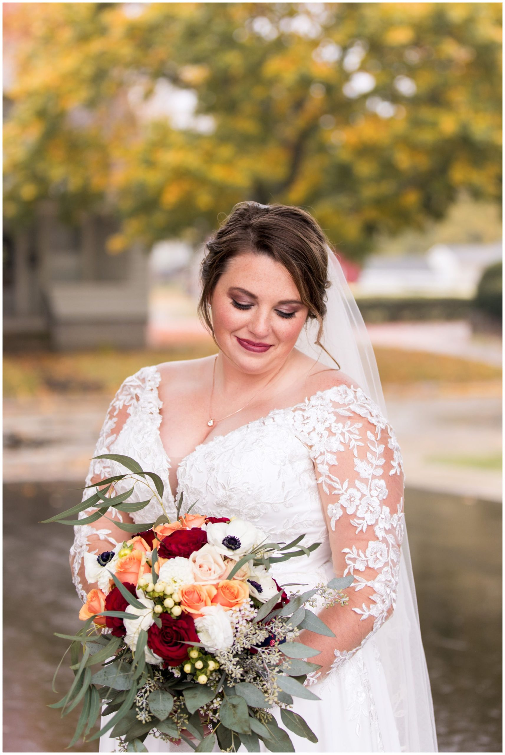 bride wedding portraits outside of Zion Lutheran Church in Decatur Indiana