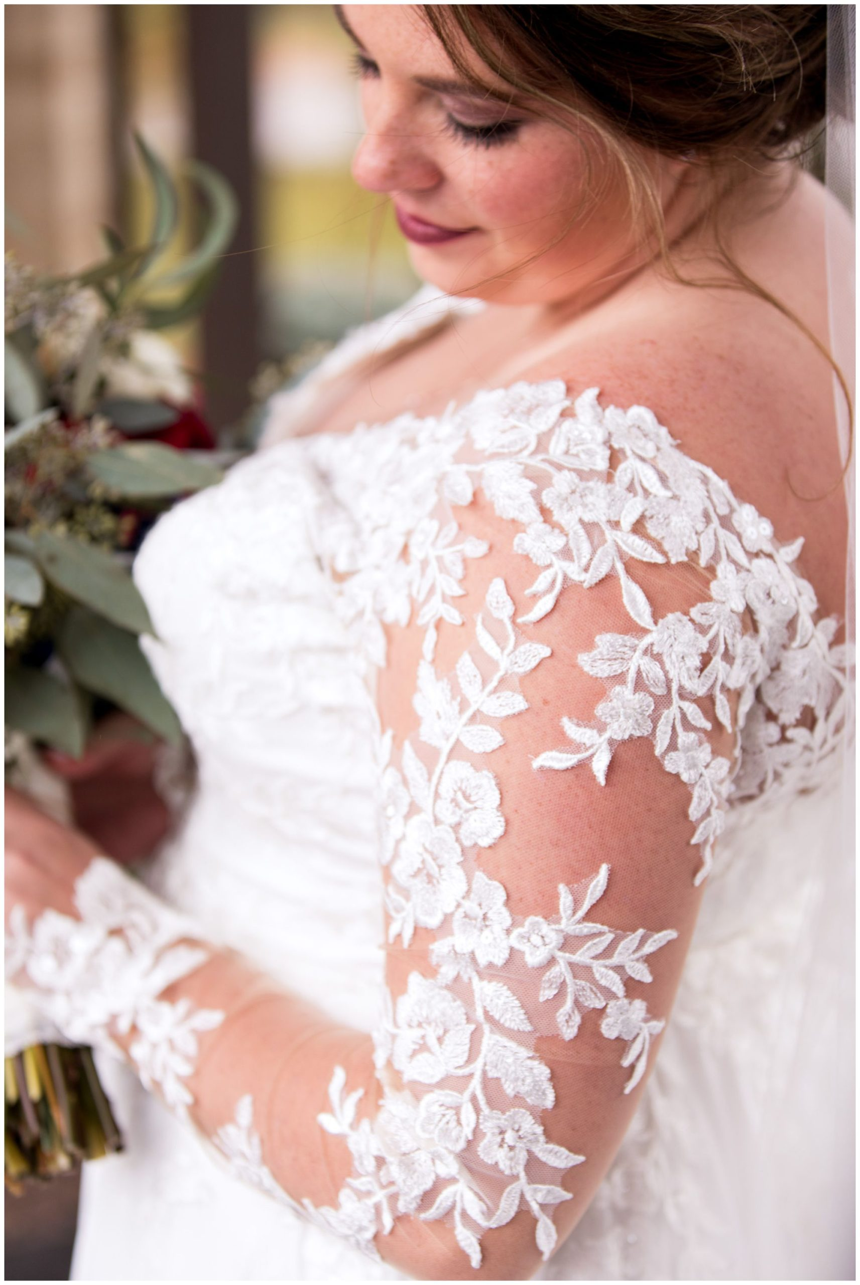 bride's dress details before Fort Wayne wedding ceremony