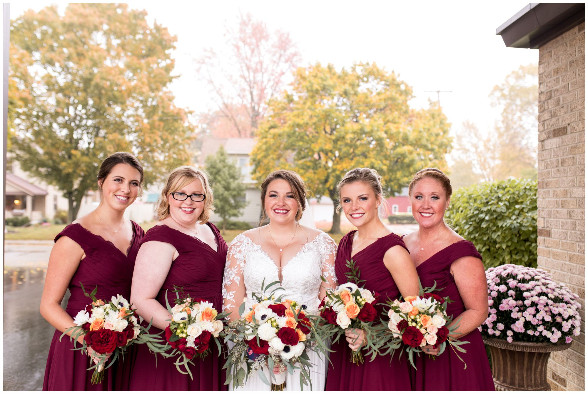 bride with bridesmaids before wedding ceremony in Decatur Indiana