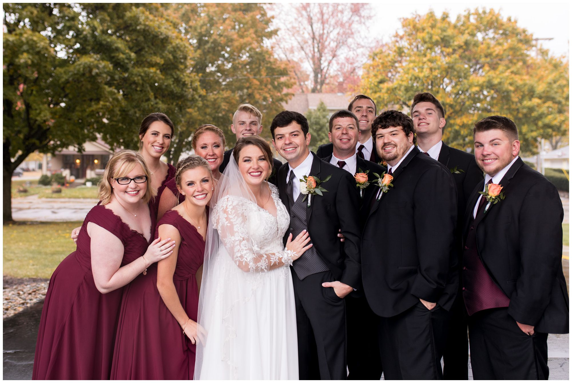 wedding party before Zion Lutheran Church wedding ceremony