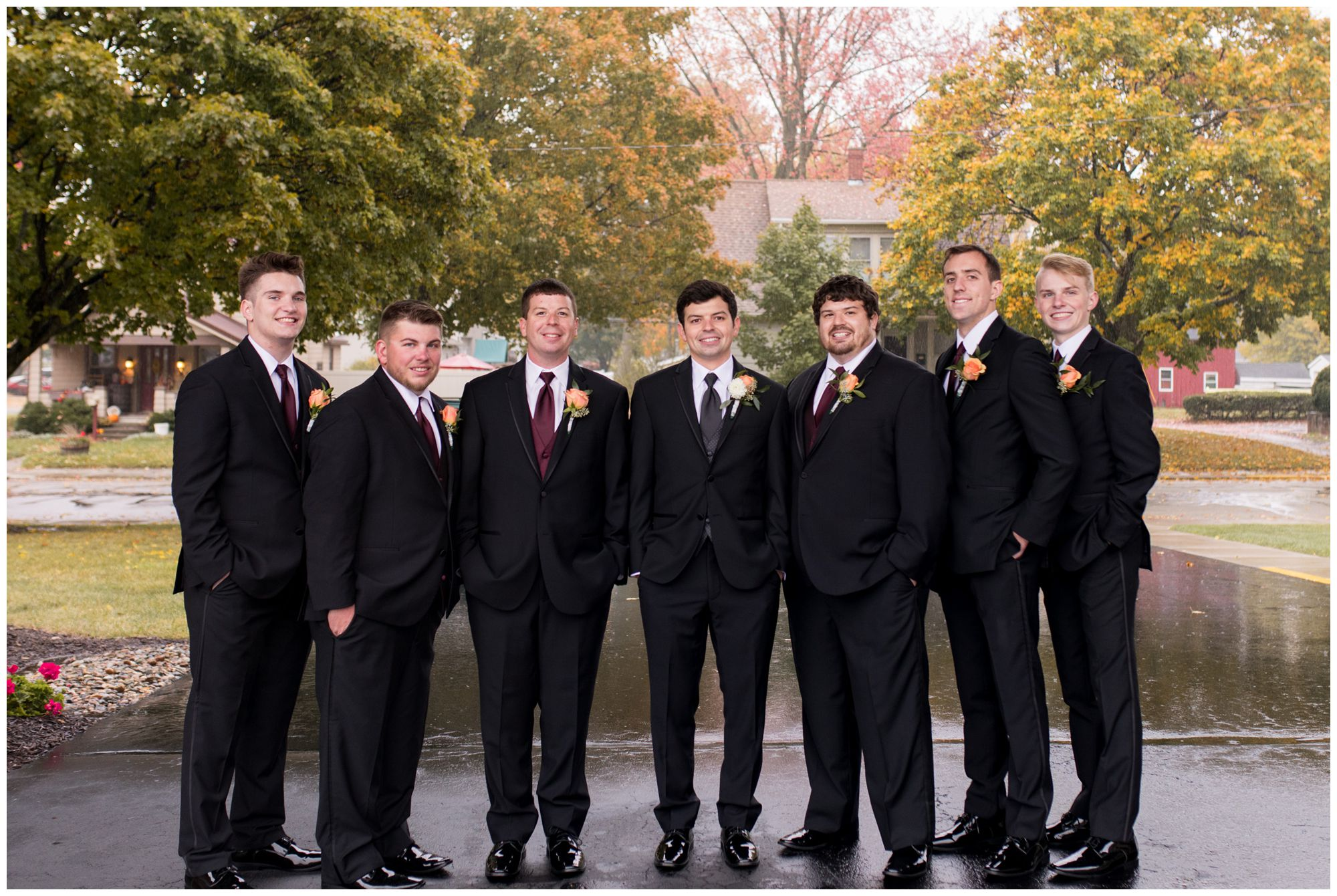 groom and groomsmen portraits before wedding ceremony at Zion Lutheran Church