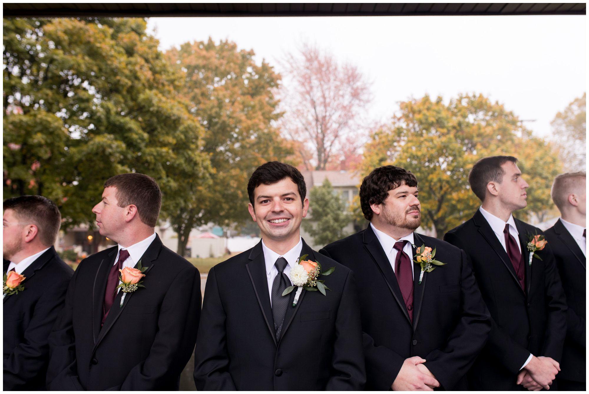 groom with groomsmen before wedding ceremony in Decatur Indiana